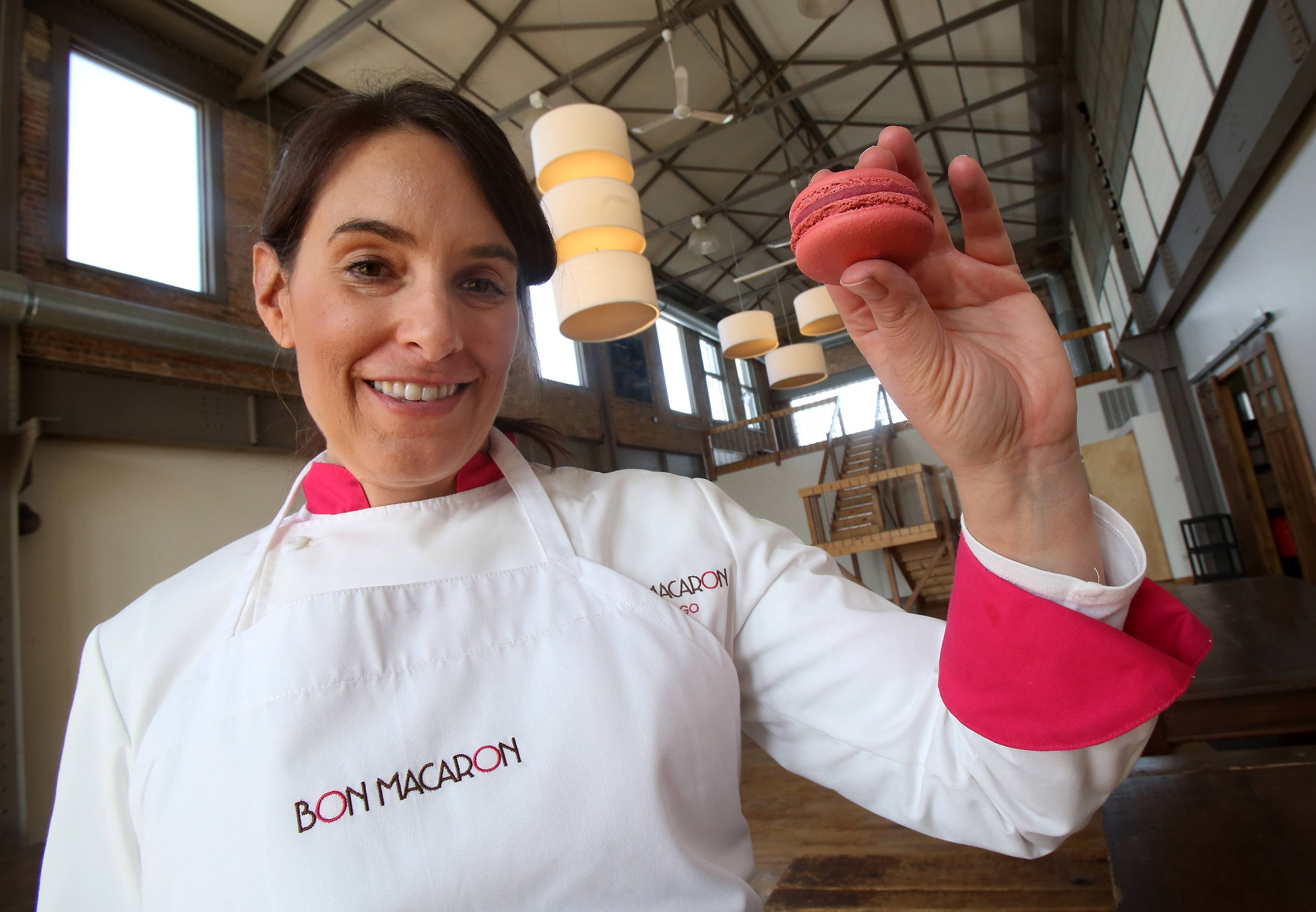 Catherine Cooper of Bon Macaron Chicago makes the delicate French cookies called macarons at Kitchen Chicago.