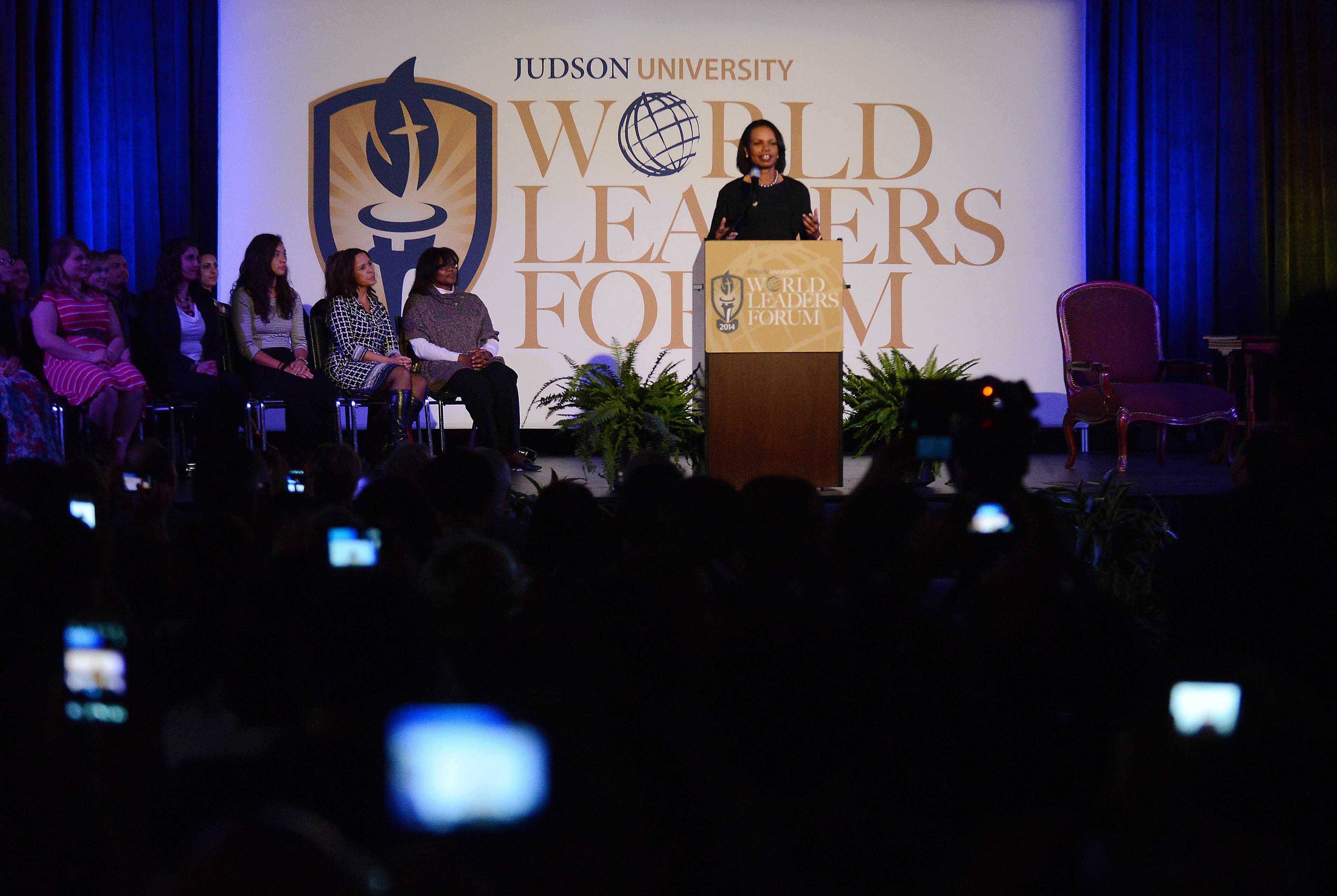 Former Secretary of State Condoleezza Rice spoke about the importance of education, the turmoil in Russia and empowering young girls to become leaders in her speech Wednesday at Judson University's fourth annual World Leaders Forum in Elgin.