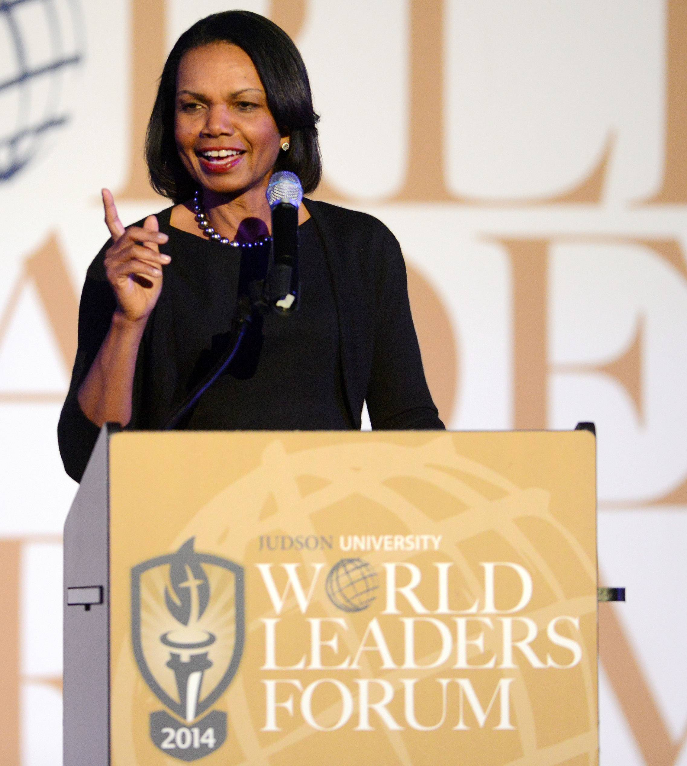 Former Secretary of State Condoleezza Rice gives the keynote speech Wednesday at Judson University's World Leaders Forum in Elgin.
