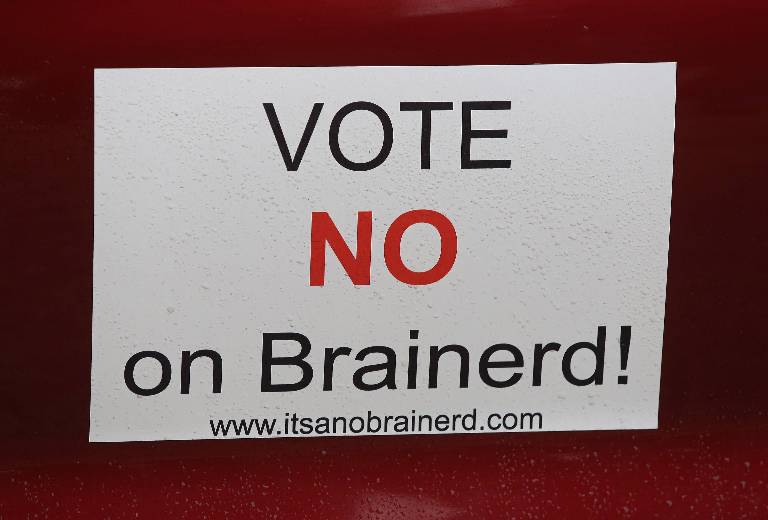 A sign on a car of a member of the Brainerd opposition group. A ballot question to allow Libertyville to borrow up to $11.5 million to be repaid by a property tax hike was crushed Tuesday.
