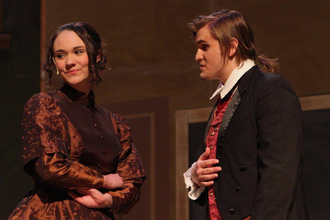 "Anika Nims portrays Emma and Joey McCall as Jekyll rehearse for Geneva High School's musical, ""Jekyll & Hyde."""