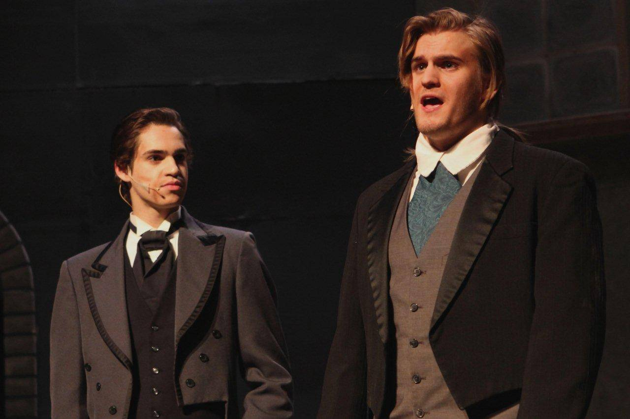 "Angelo Gelfuso, left, plays Simon and Joey McCall playing Jekyll rehearse a scene from Geneva High School's production of ""Jekyll & Hyde."""
