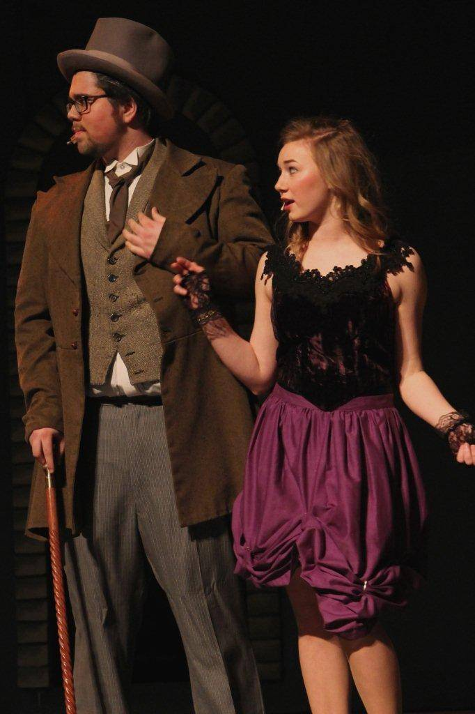 "Alex Howe and Melanie Burkhardt rehearse for Geneva High School's production of ""Jekyll & Hyde."""
