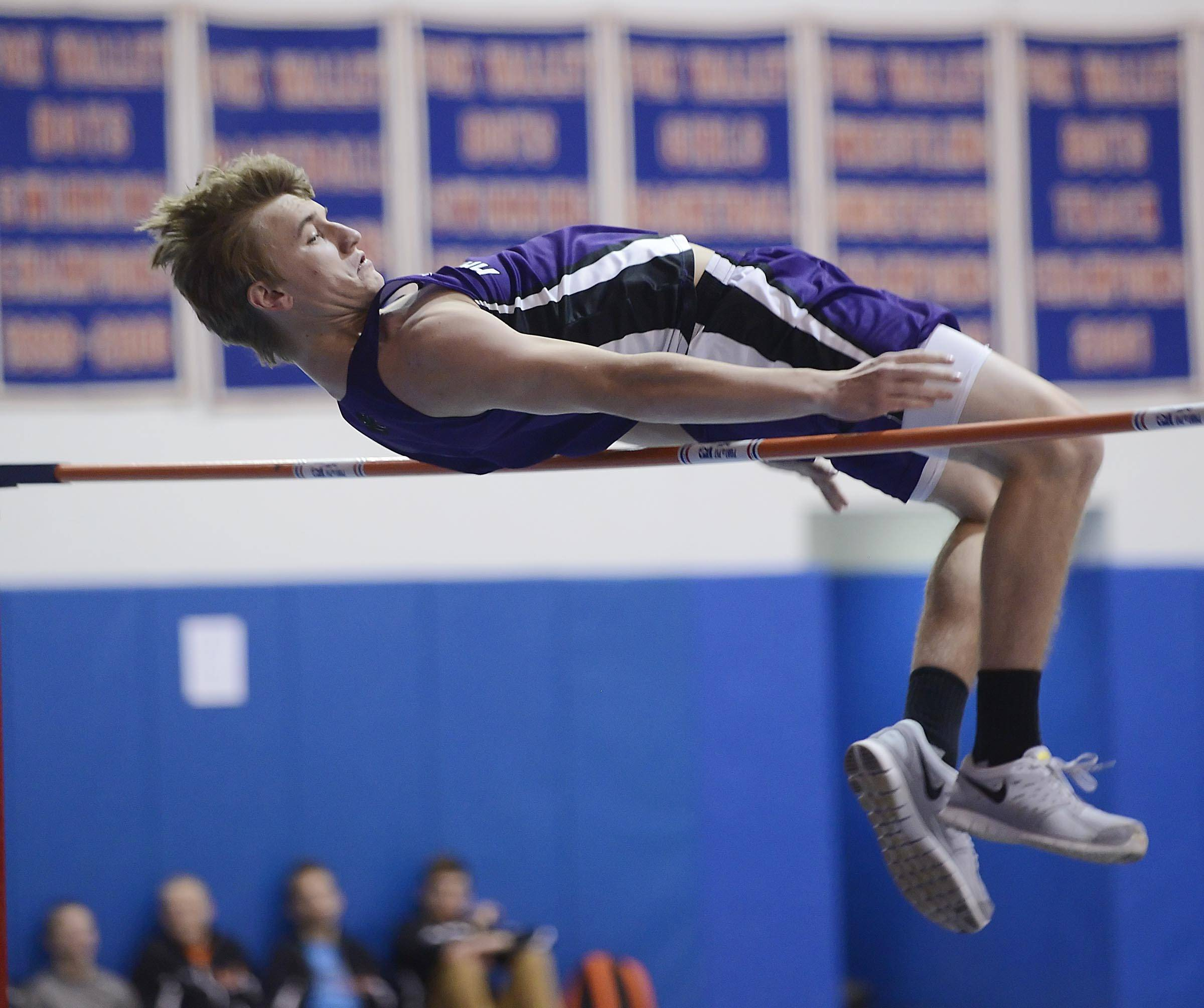 Hampshire's Brandon Bowen competes in the high jump Wednesday at the Fox Valley Conference boys indoor track meet at Dundee-Crown High School in Carpentersville.