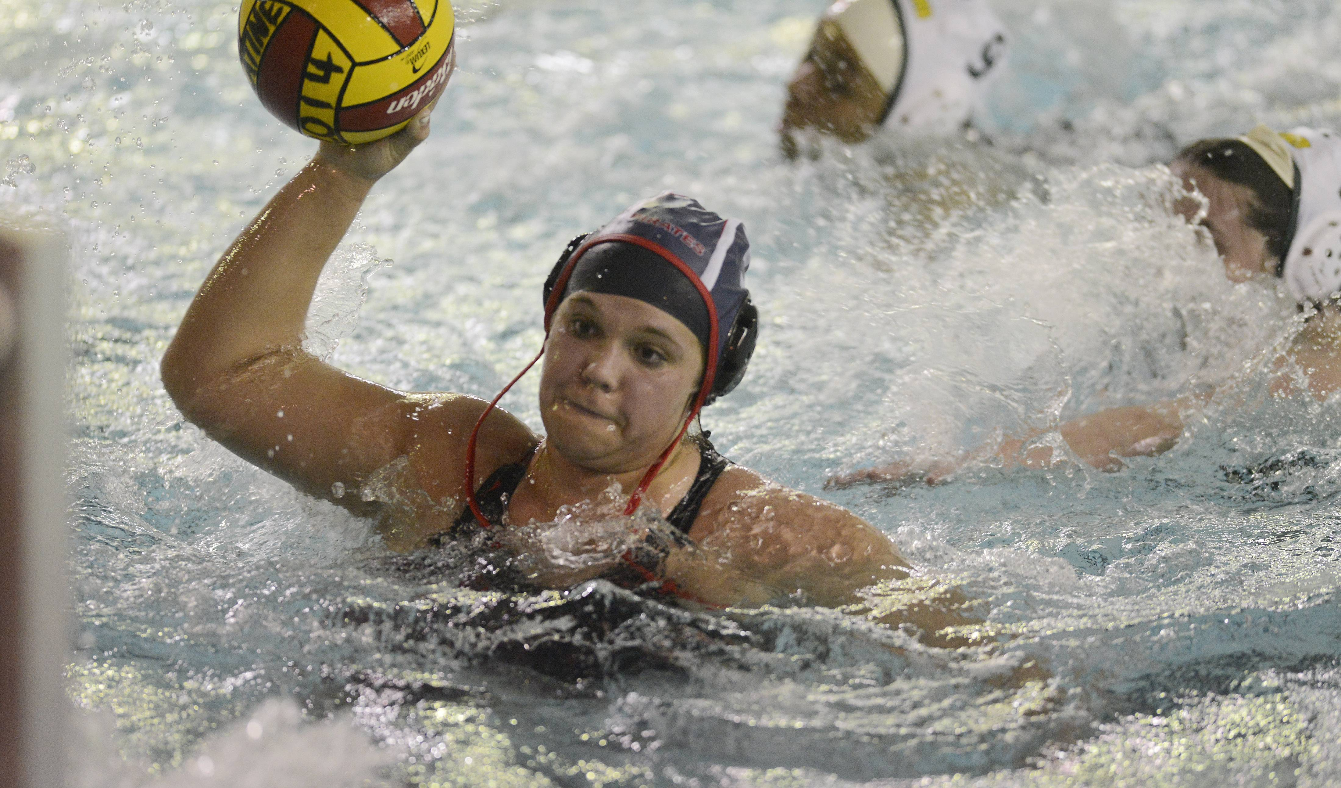 Palatine's Rachel Chumbook shoots during Wednesday's water polo game against Fremd.