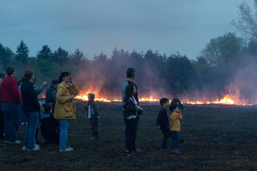 Families watch as the prairie at Spring Valley is burned.Schaumburg Area Photographic Society/Bob Benson