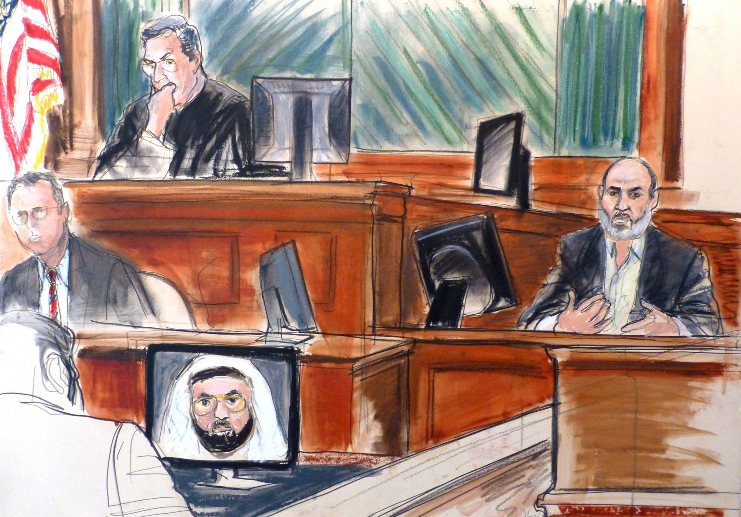 In this courtroom sketch Osama bin Laden's son-in-law, Sulaiman Abu Ghaith, right, testifies at his trial Wednesday, March 19, 2014, in New York, on charges he conspired to kill Americans and aid al-Qaida as a spokesman for the terrorist group.