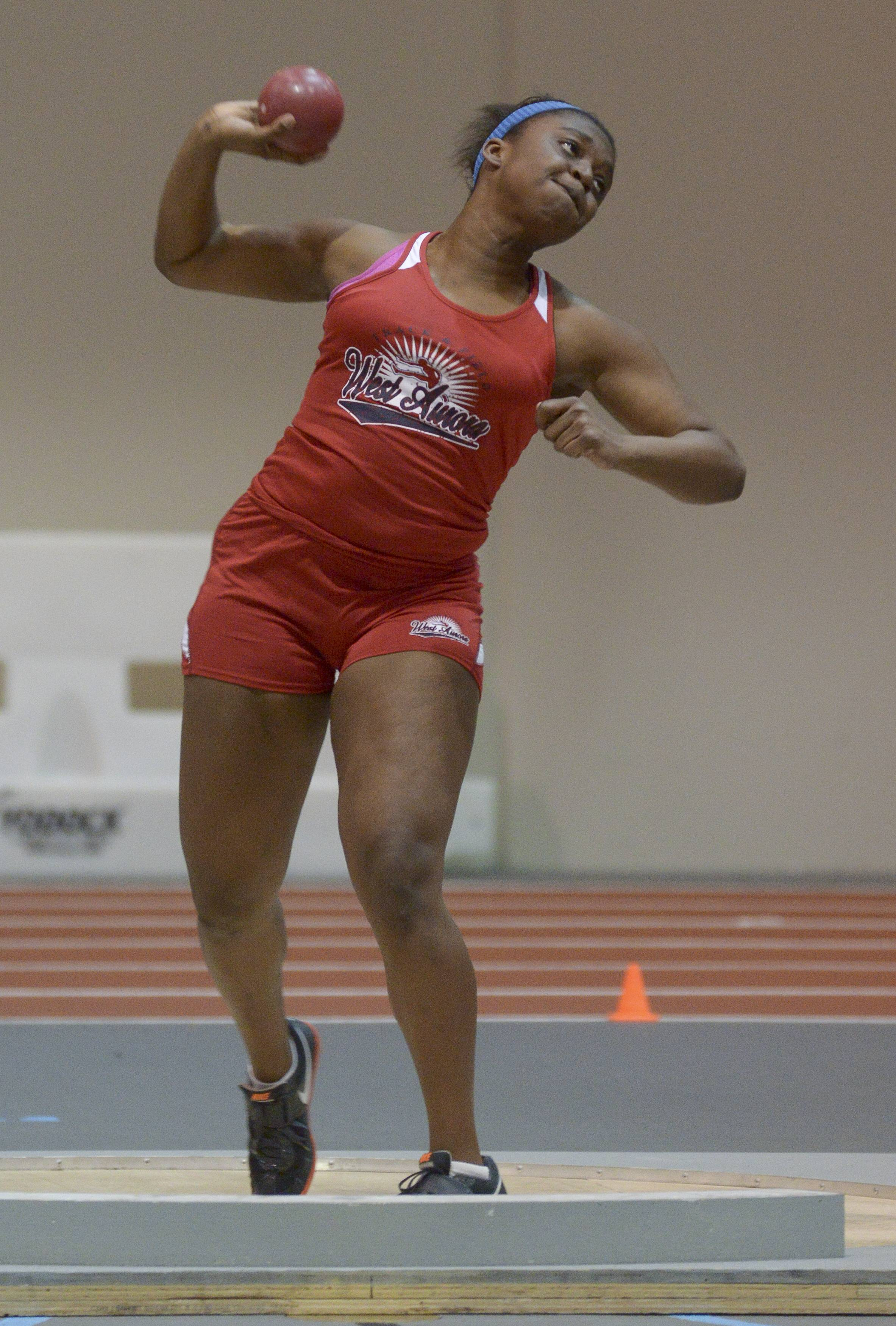 Mark Black/mblack@dailyherald.comSaMya Hunt of West Aurora competes in the Shot Put during DuPage Valley Conference girls indoor track meet at North Central College.