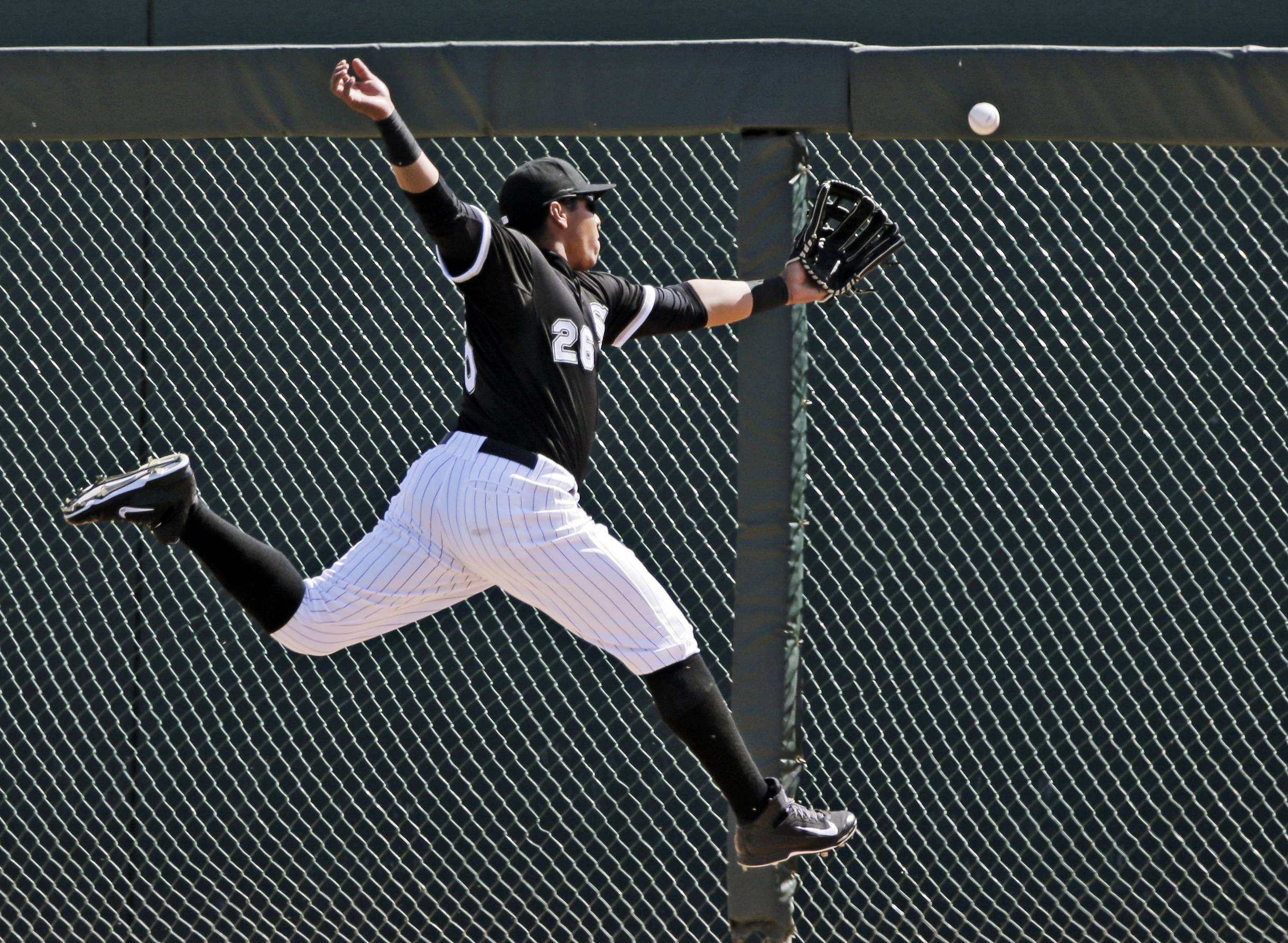 "White Sox right fielder Avisail Garcia can't catch up to a double by Oakland's Daric Barton on Tuesday. Garcia has impressed at least one major-league scout, who says, ""He's got a chance to be one of those players that can do it all."""