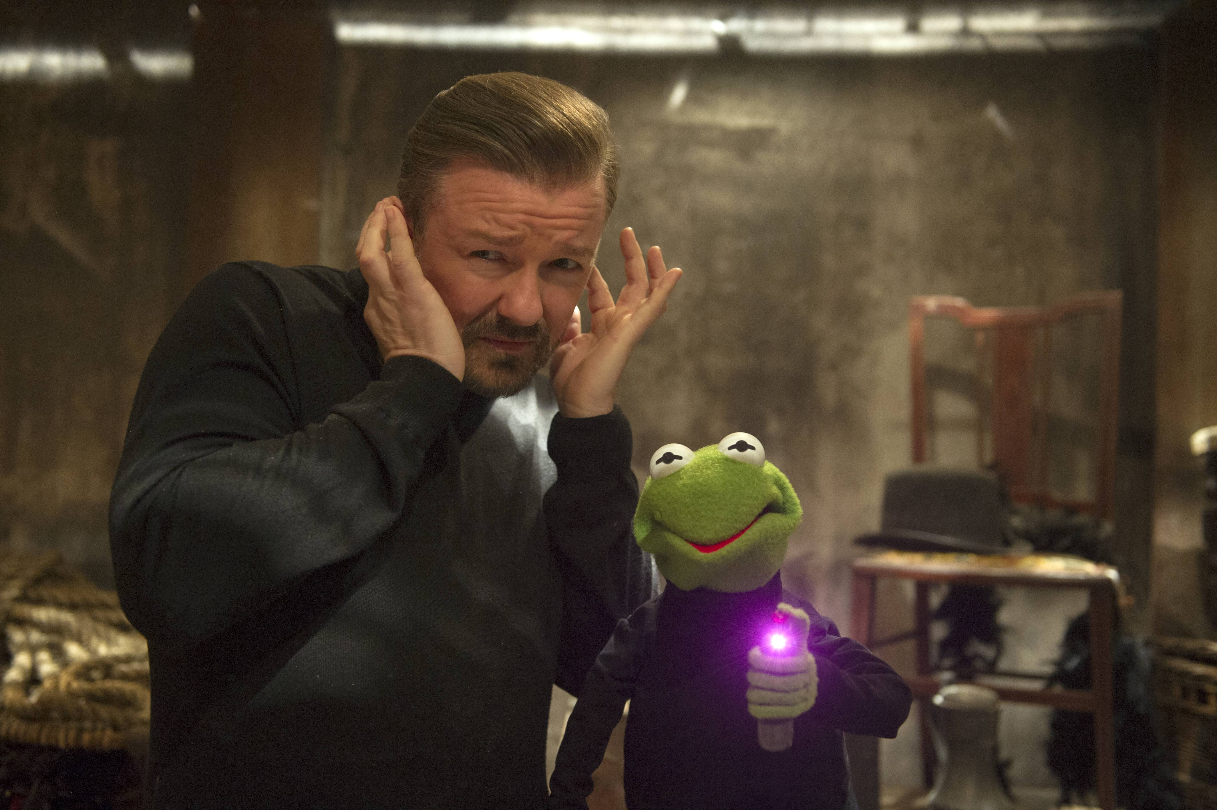 "A sleazy manager (Ricky Gervais) usurps Kermit's control of the Muppets World Tour in the disappointing ""Muppets Most Wanted."""