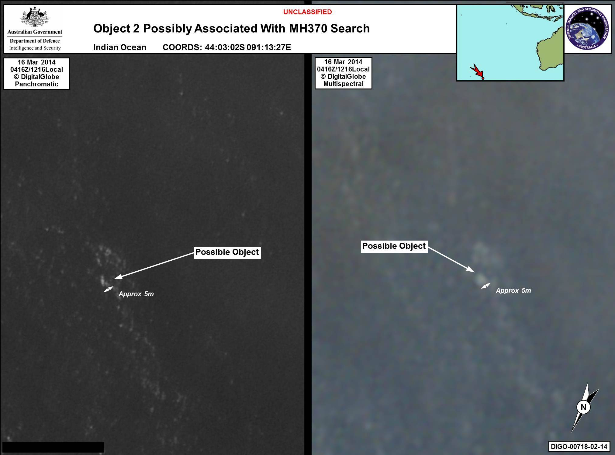 In this March 16 satellite imagery, a floating object is seen at sea. Australia's government reported Thursday that the images show suspected debris from the missing Malaysia Airlines jetliner floating in an area 1,550 miles southwest of Perth, Australia.