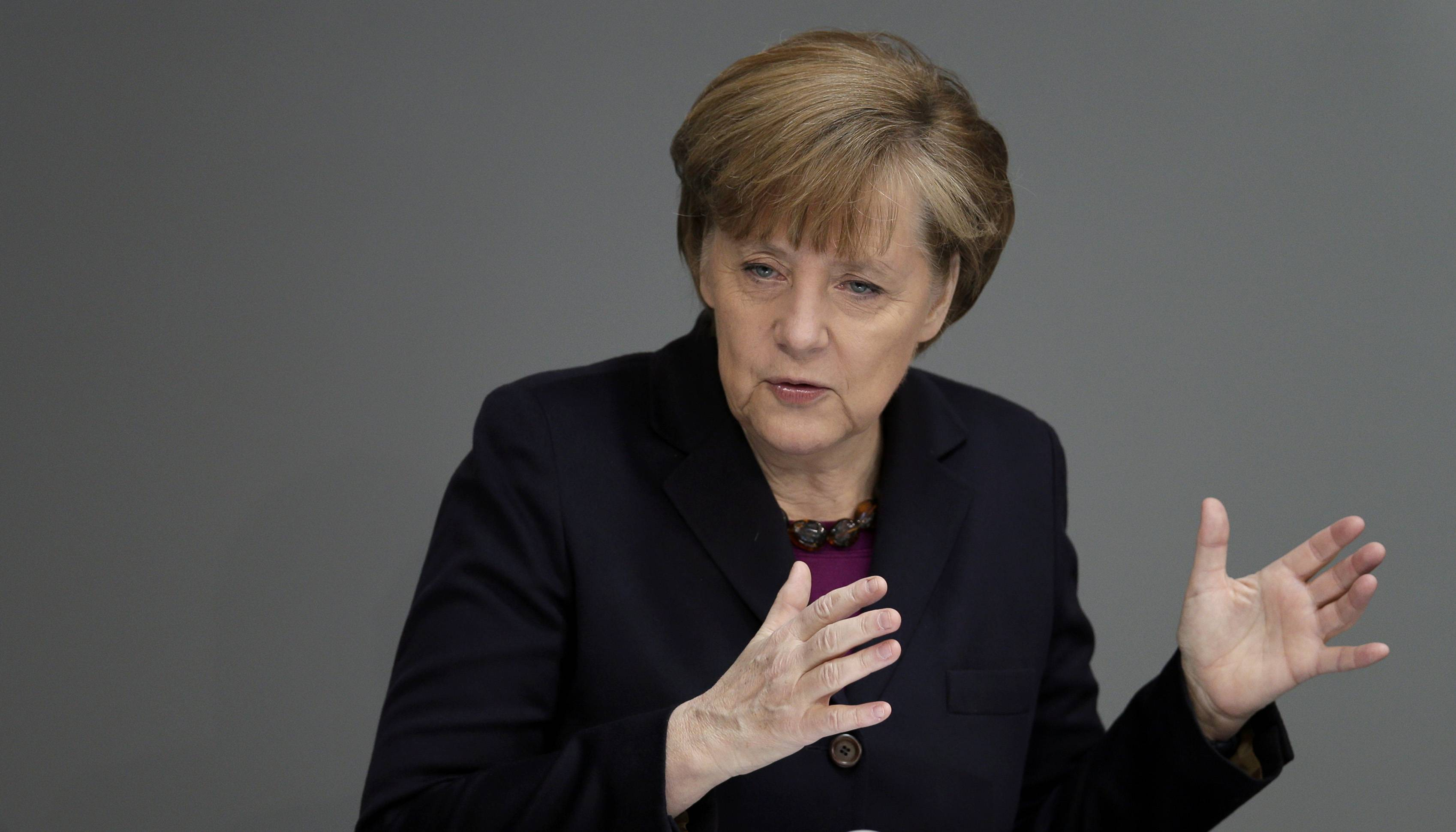 In an address to the German Parliament, Chancellor Angela Merkel said the EU was readying further sanctions and that the G-8 forum of leading economies had been suspended indefinitely.