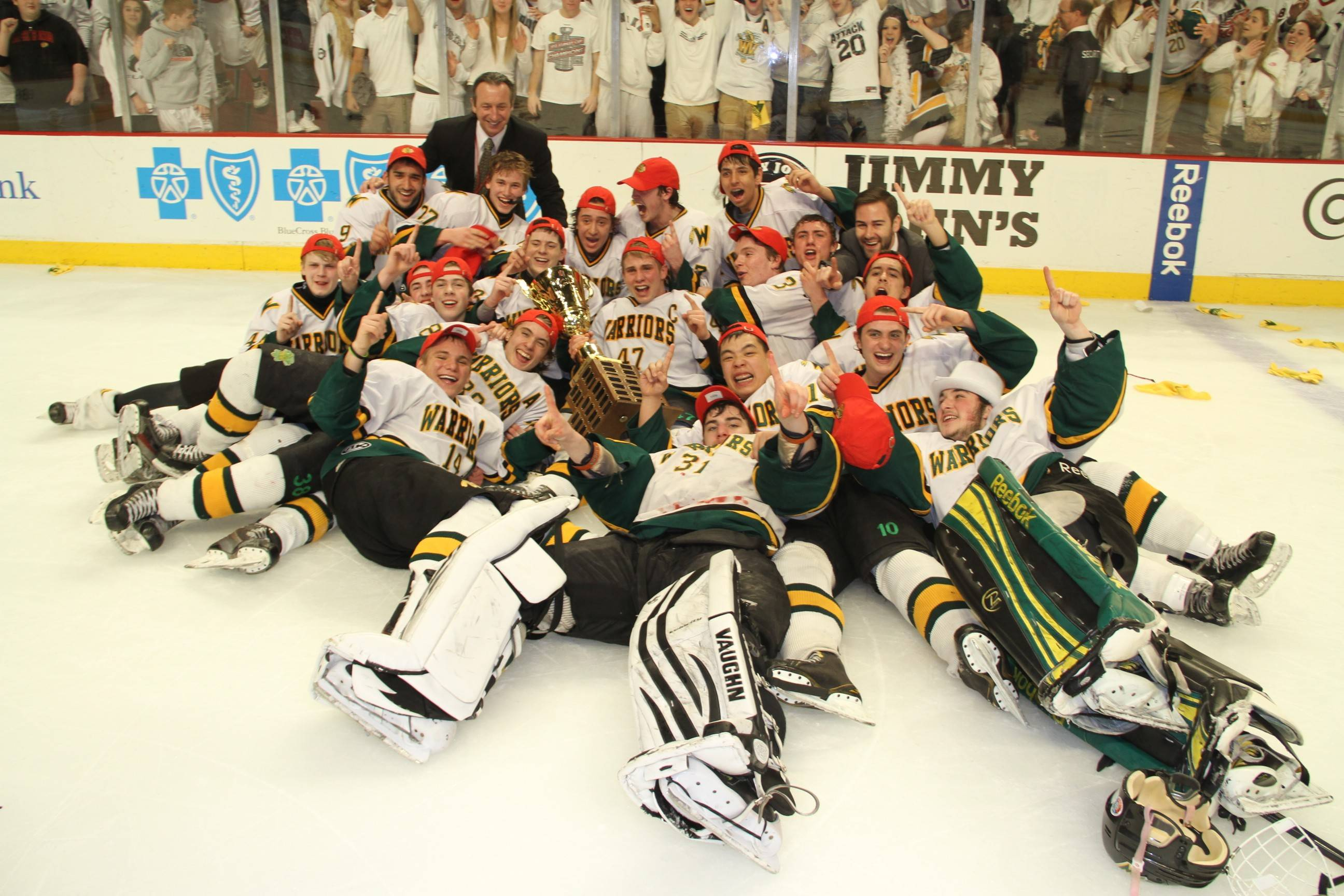 Waubonsie Valley revels in the moment after a 3-0 victory over Glenbard in the Combined Division state championship game on Thursday at the United Center.