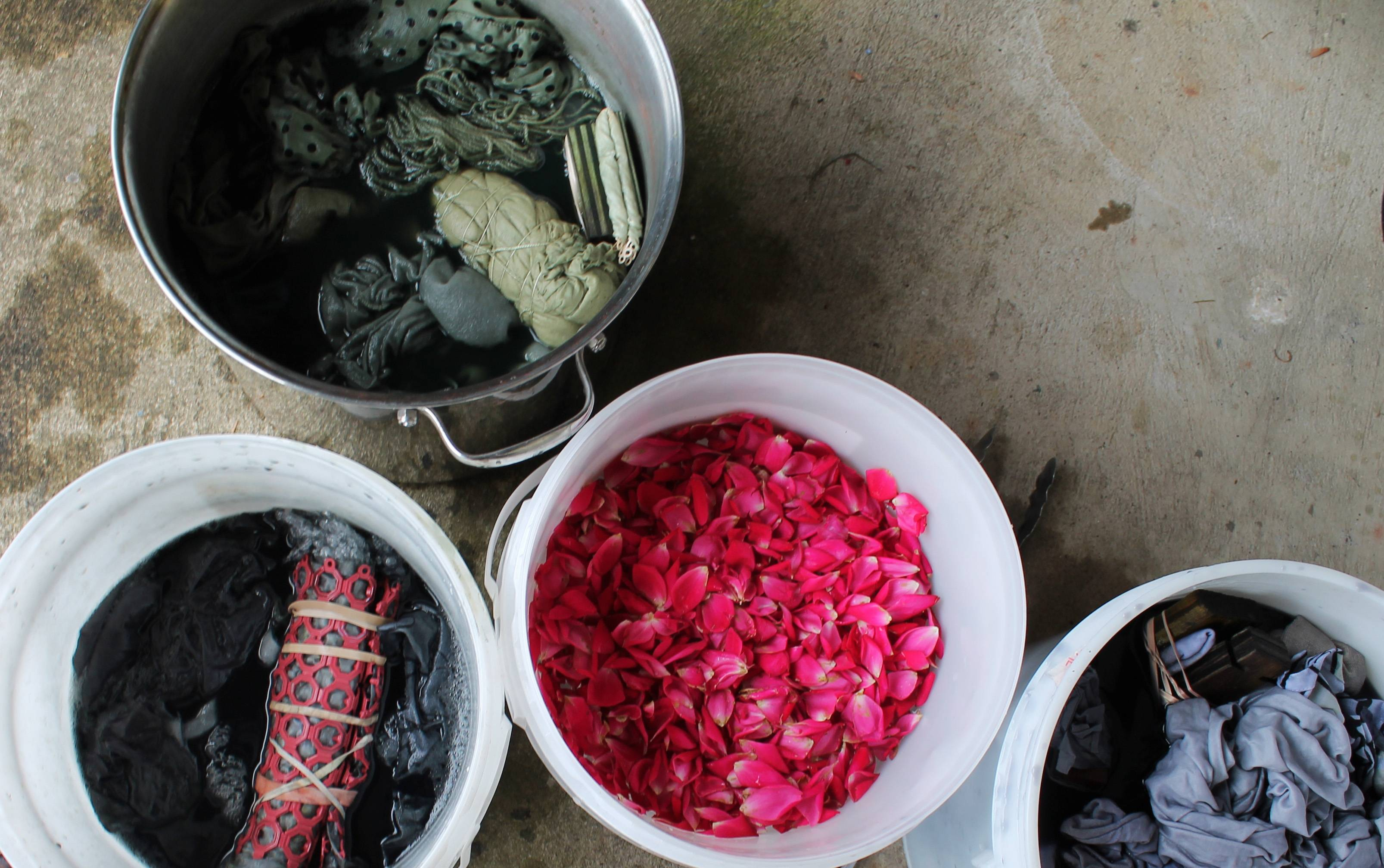 A natural dye bath, top left, can be made from pomegranate rinds, and natural dyes, bottom, made from rose petals and iron.