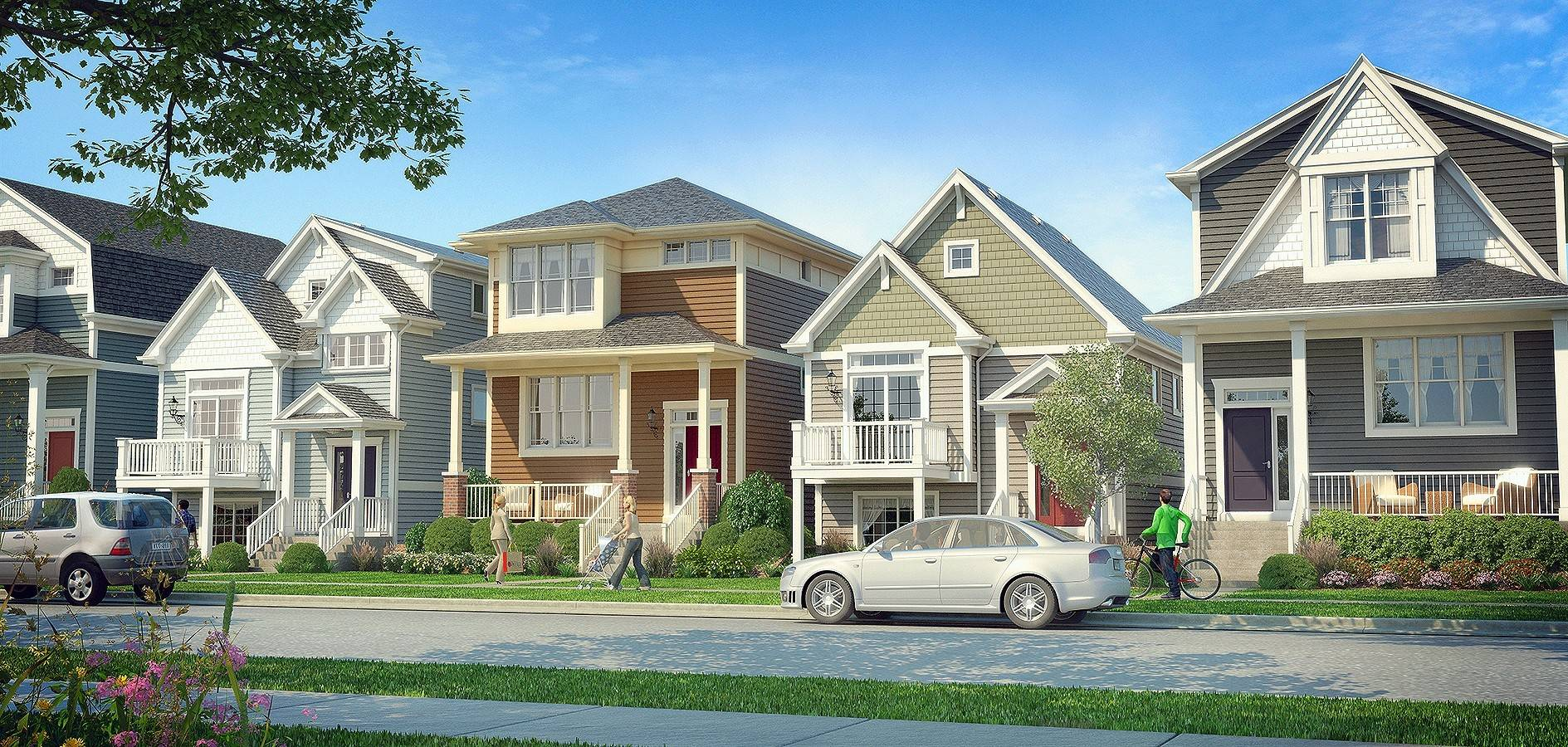 The Graham floor plan by Airhart Construction is available at College Station, a small development in downtown Wheaton near the College Avenue train station. It features a second-floor loft with a walkout, roof terrace.