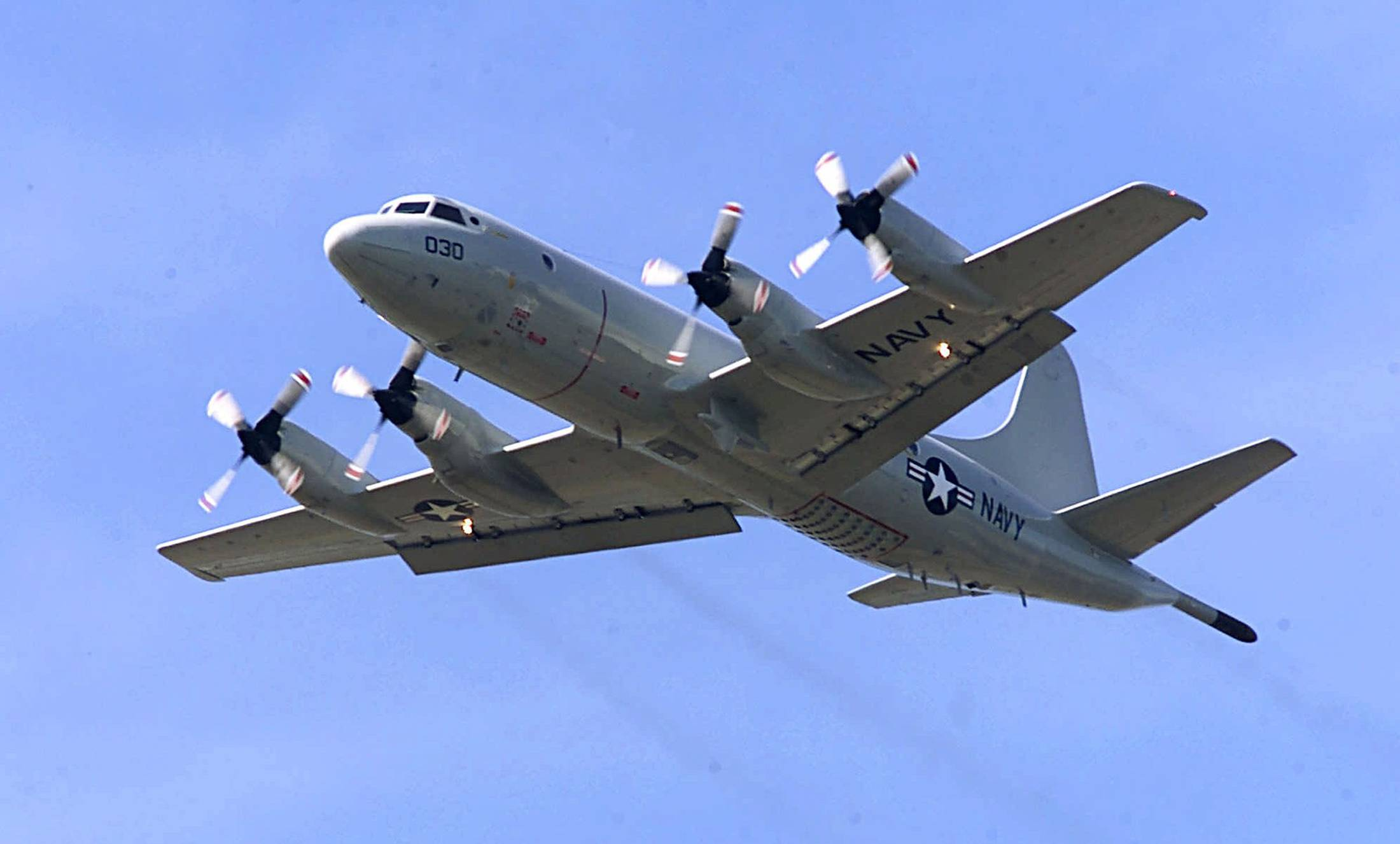 A P-3C Orion. The similar type of the P-3 Orion, favored by the Australian and New Zealand defense forces, is being used in the search for the Malaysia Airlines Flight 370 which went missing on March 8, 2014, off the west coast of Australia. Because the search area is so remote, it's an eight-hour round trip, leaving the planes just two or three hours to search.