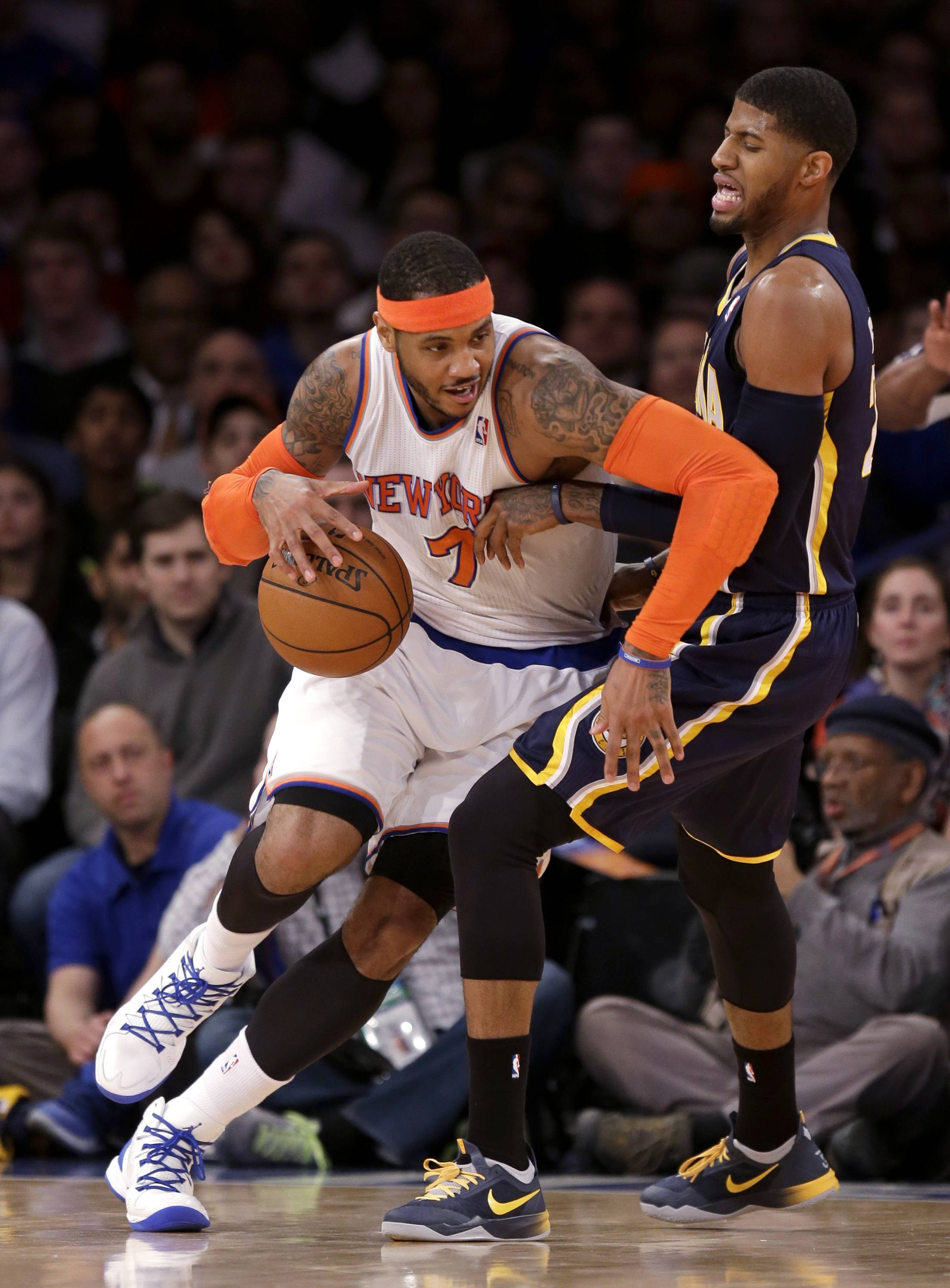Will Phil Jackson, now in charge of the New York Knicks as team president, be able to convince Carmelo Anthony, left, to stay with the franchise?