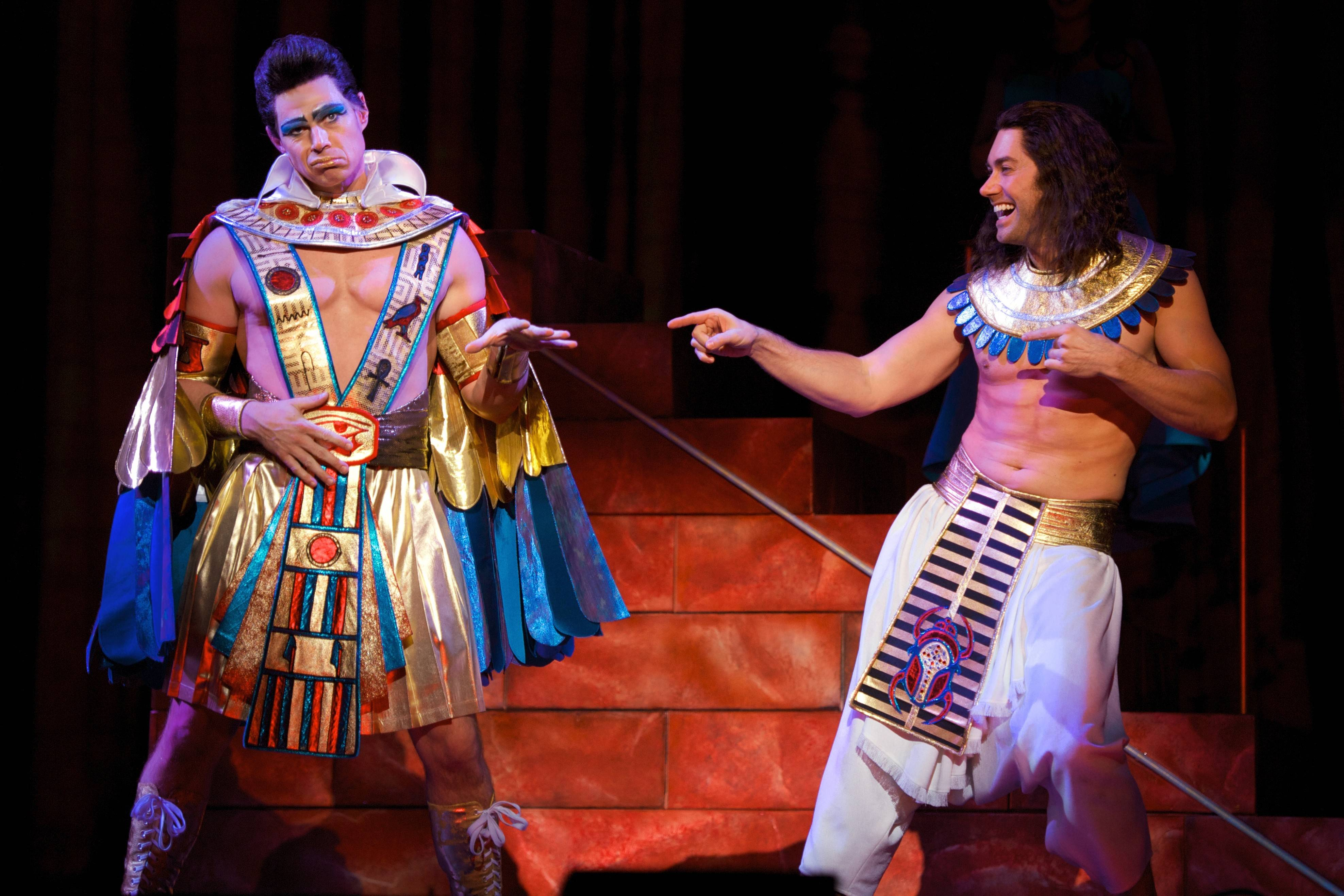 "Ryan Williams as the Elvis Presley-inspired Pharaoh and ""American Idol"" alum Ace Young in the title role of the new tour of Andrew Lloyd Webber and Tim Rice's ""Joseph and the Amazing Technicolor Dreamcoat,"" running at the Cadillac Palace Theatre in Chicago through Sunday, March 30."