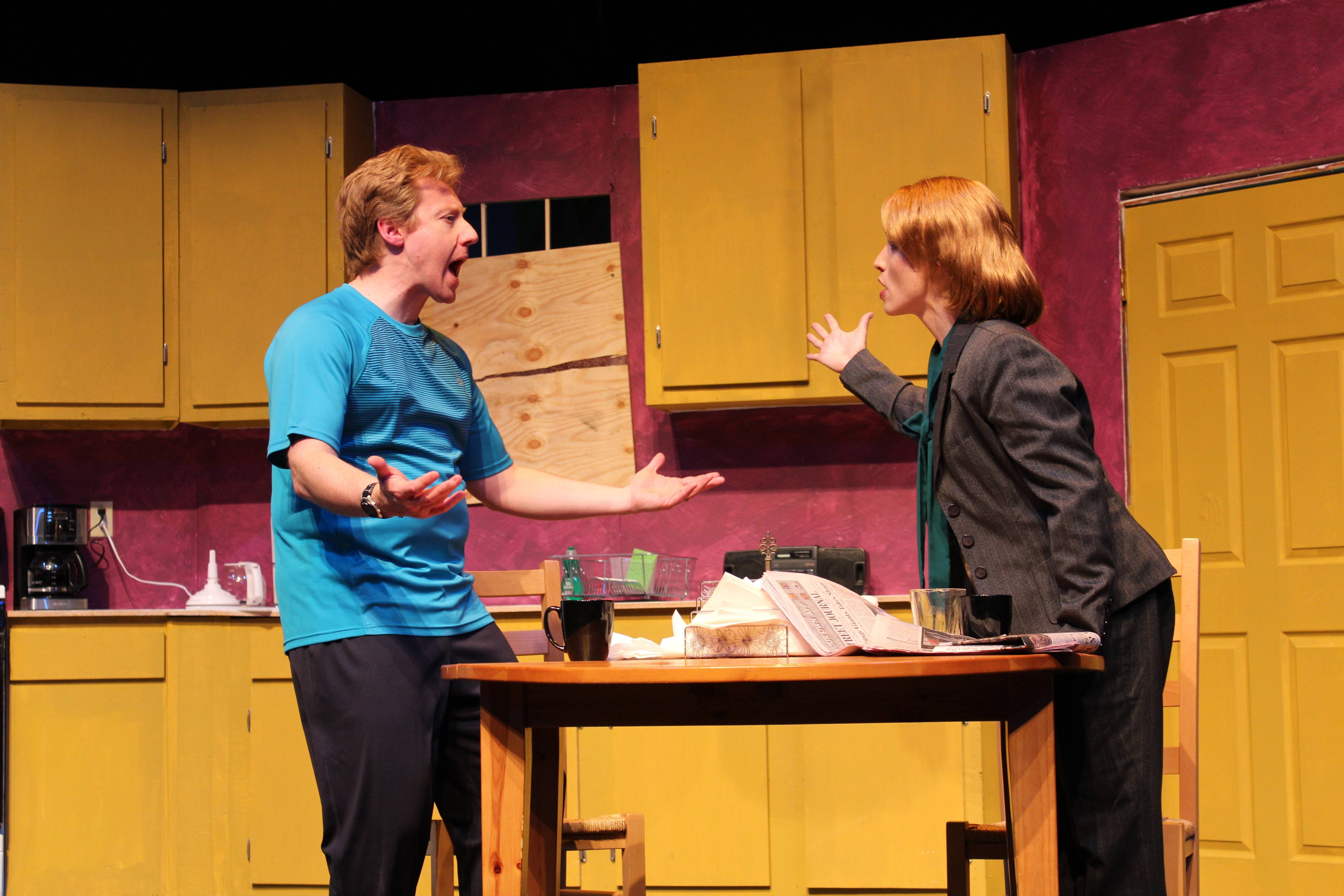 "Andrew Pond plays a stay-at-home dad and Julie Partyka is his workaholic wife in ""Half and Half,"" the new drama at the Metropolis Performing Arts Centre in Arlington Heights."
