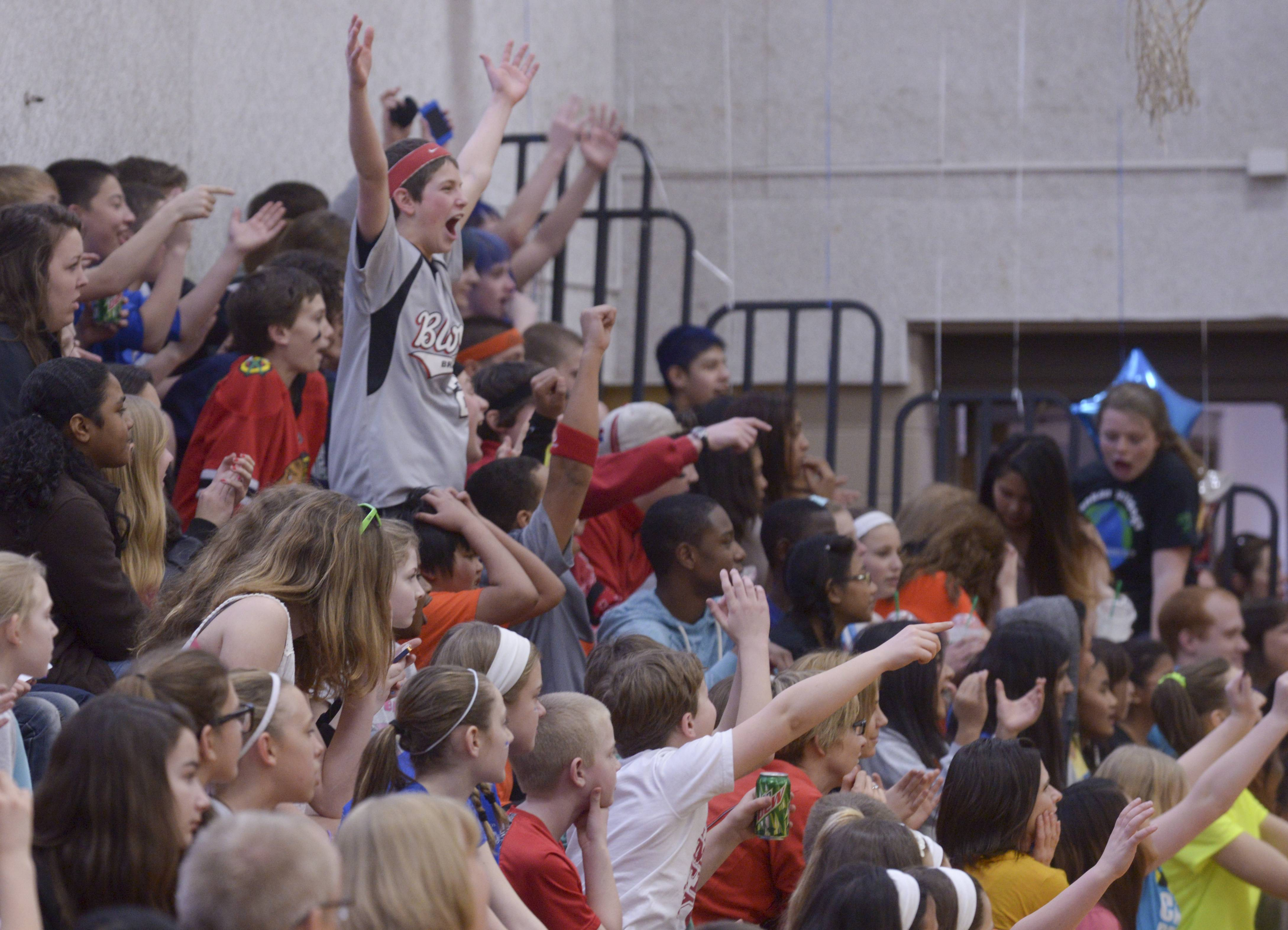 Fans cheer during Franklin Middle School's second annual Dodgeball Madness tournament in Wheaton.