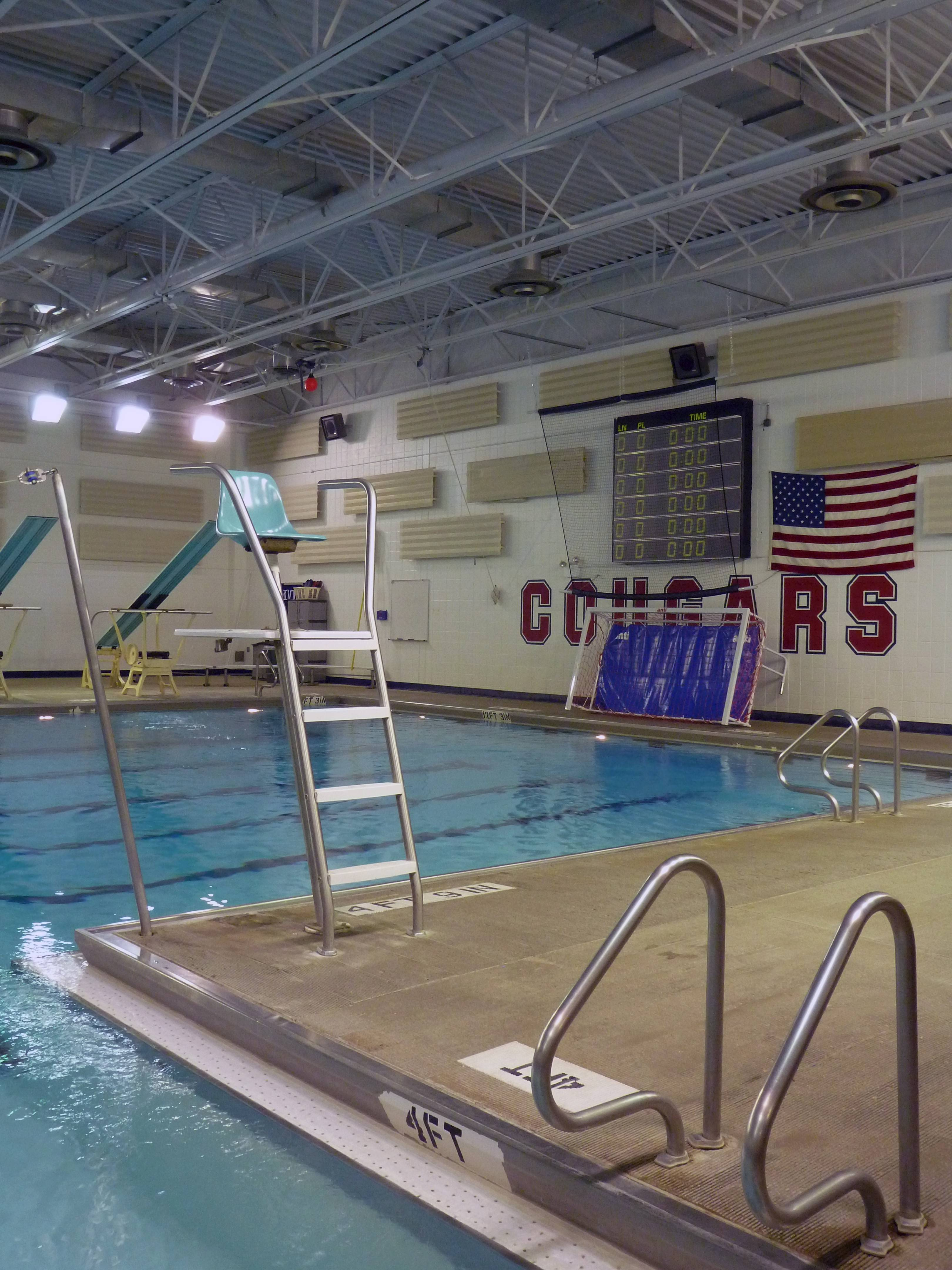 This is a right angle view of the pool at Conant High School, which will be the first of District 211's five high schools to receive renovations. Coaches say the design, which is the same at all the schools, prevents athletes from properly training for competition.