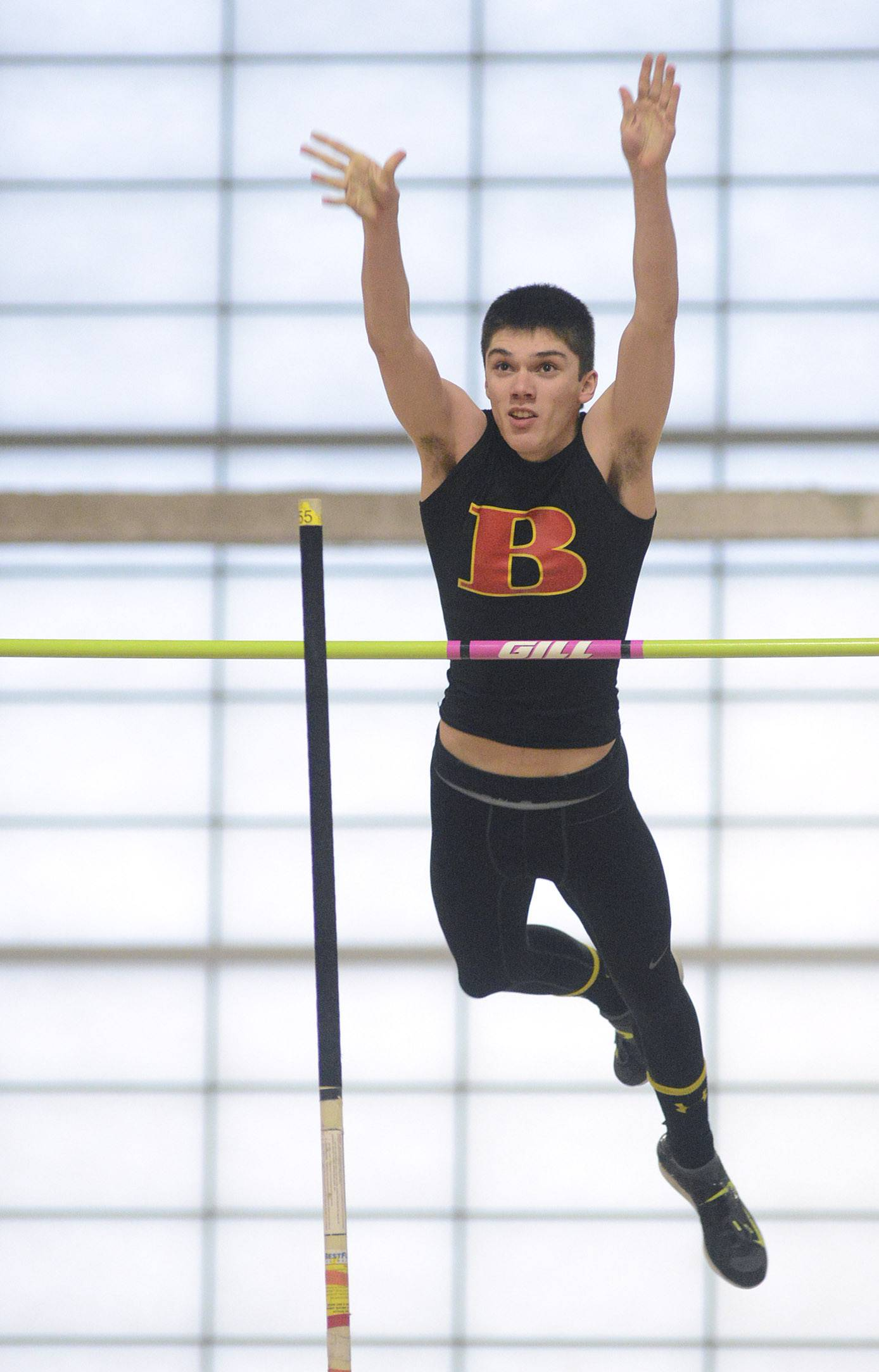 Batavia's Tyler Mansfield in the pole vault at the Upstate Eight Conference in Batavia on Friday.