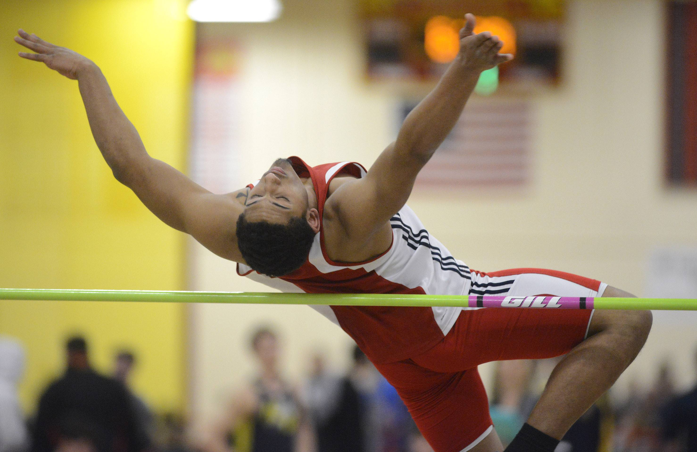 South Elgin's Dalton Garland in the high jump at the Upstate Eight Conference in Batavia on Friday.