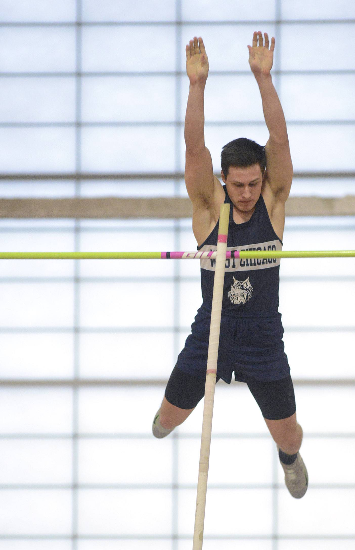 West Chicago's James Kubik in the pole vault at the Upstate Eight Conference in Batavia on Friday.
