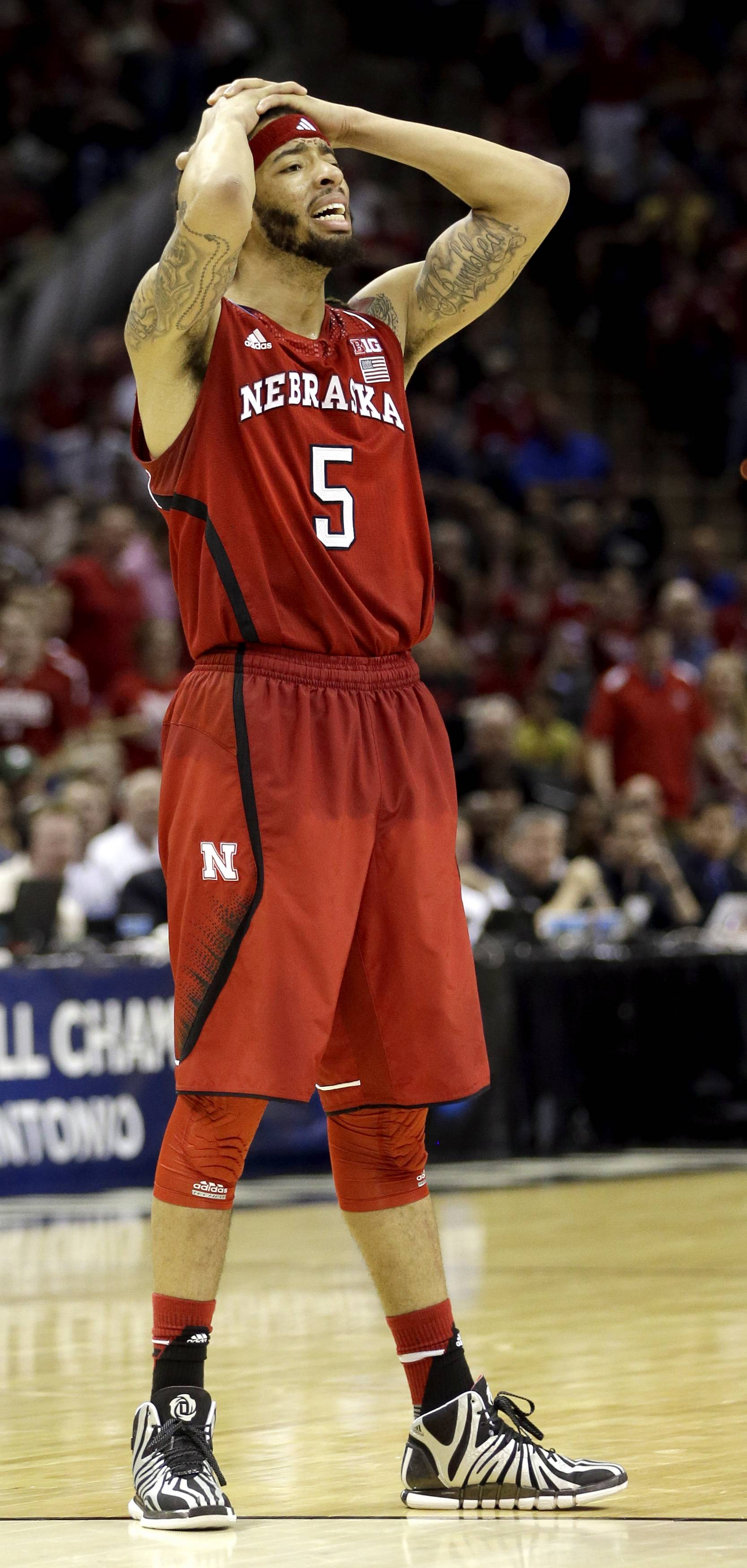 Nebraska's Terran Petteway (5) reacts after a foul call during the second half of a second-round game against Baylor in the NCAA college basketball tournament Friday, March 21, 2014, in San Antonio. Baylor won 74-60.