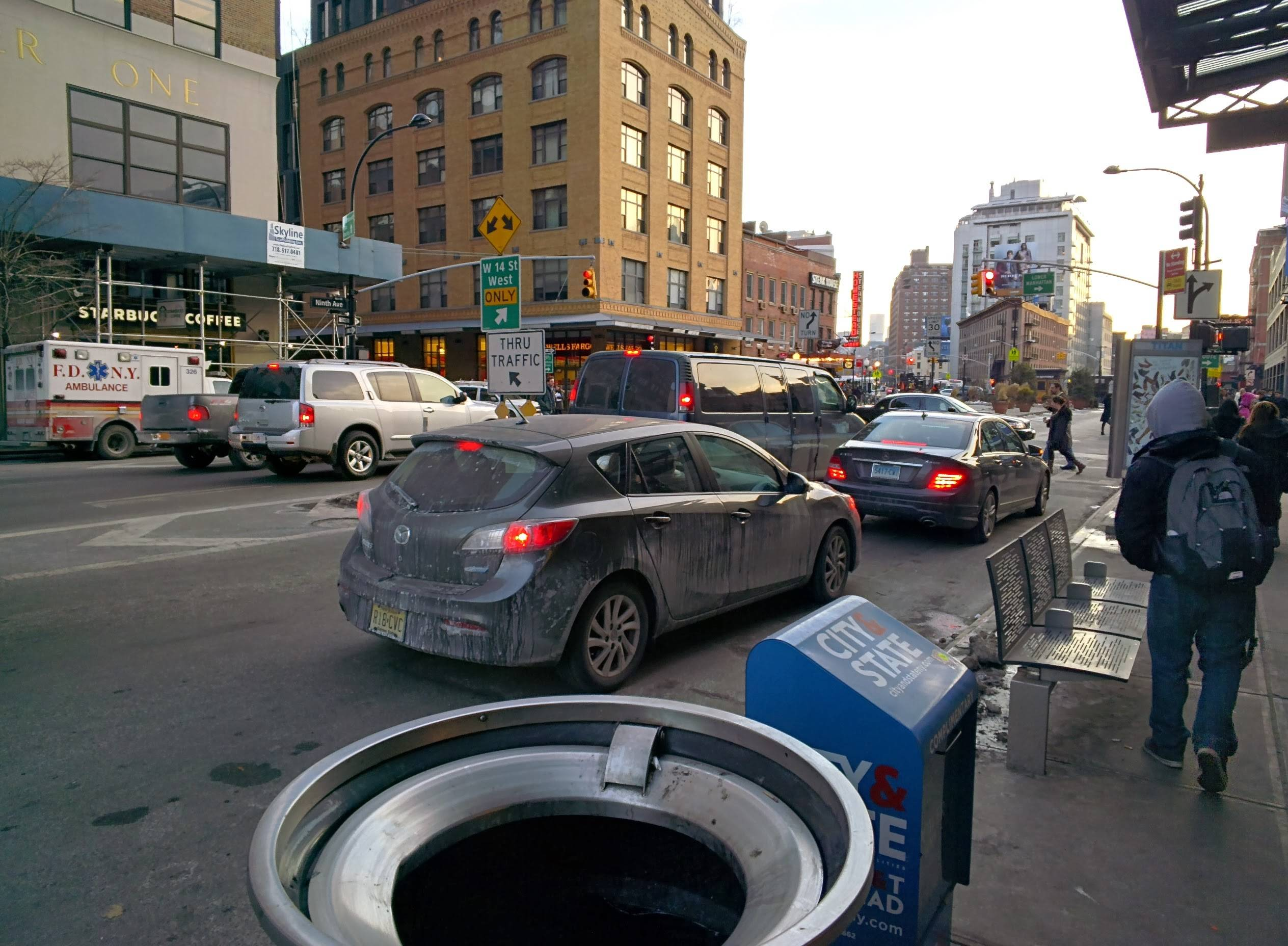 In this Jan. 31, 2014 photo taken using Google Glass, vehicles are stopped at a traffic light in New York.