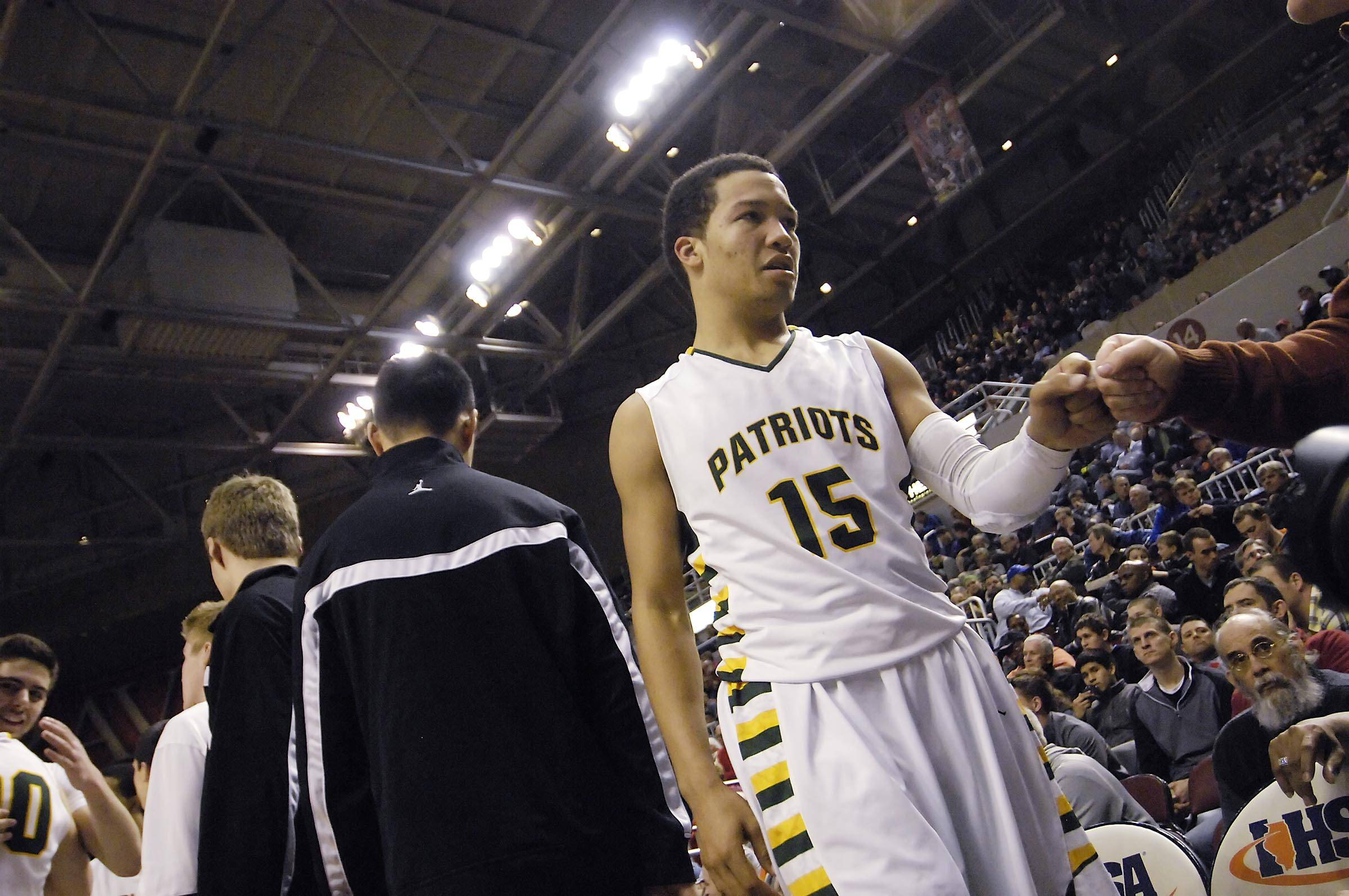 John Starks/jstarks@dailyherald.com Stevenson's Jalen Brunson comes off the court in the final seconds of the Patriots win over Edwardsville in the Class 4A state third place game at Carver Arena in Peoria Saturday. For a few hours Saturday, it appeared Brunson wouldn't play at all.