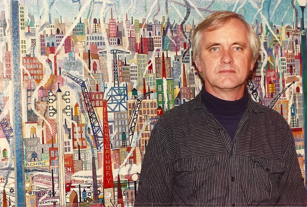 John Knudsen in front of a 60 x 45-inch oil painting called Cityscape he finished in the late 1970s. Here he wove texture and color in the buildings, trucks, the 'L', construction, light poles and the old water towers of Chicago.