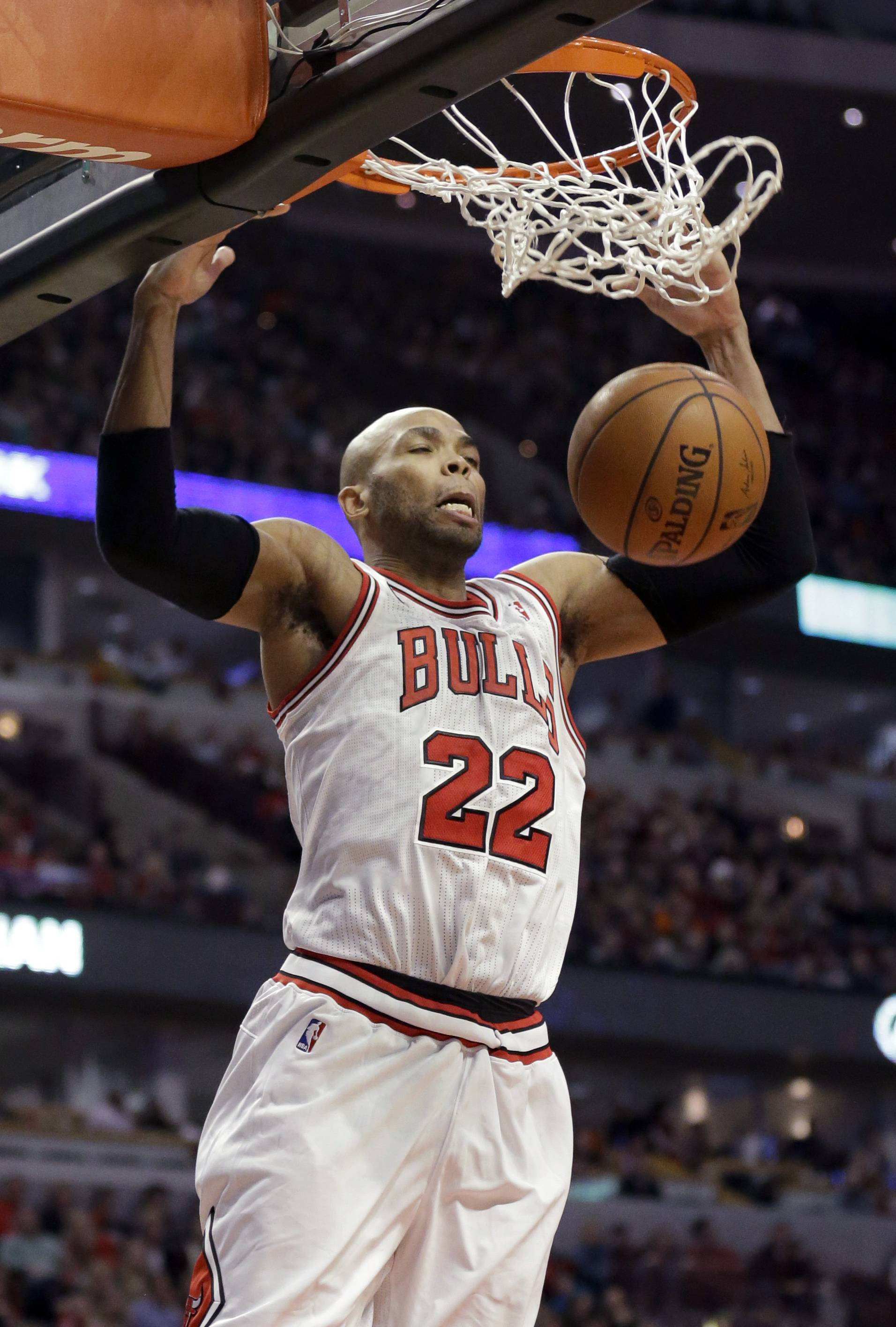 Bulls forward Taj Gibson finished with 16 points in Saturday night's victory.