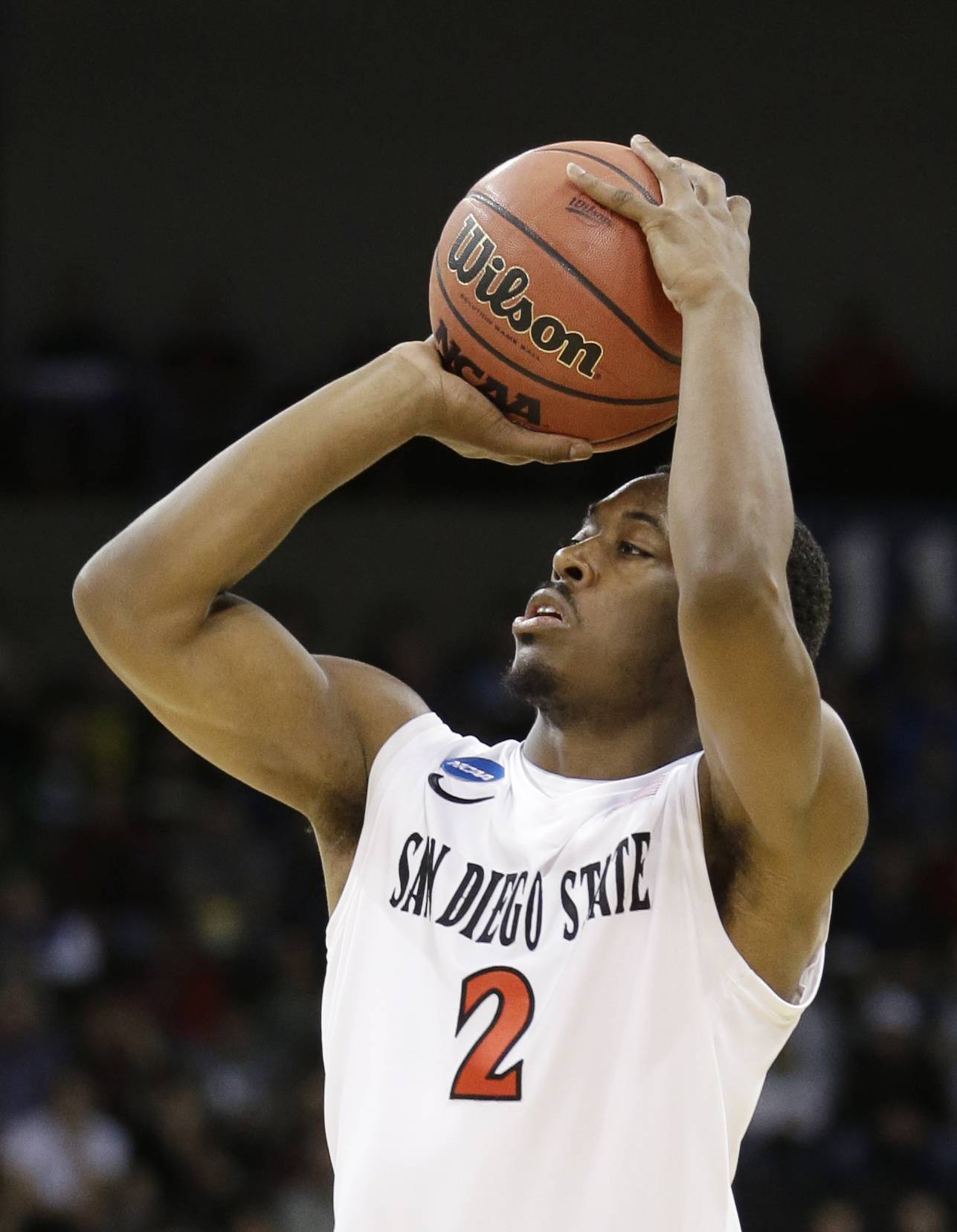 San Diego State's Xavier Thames shoots against North Dakota State in the third round of the NCAA men's college basketball tournament in Spokane, Wash., Saturday.