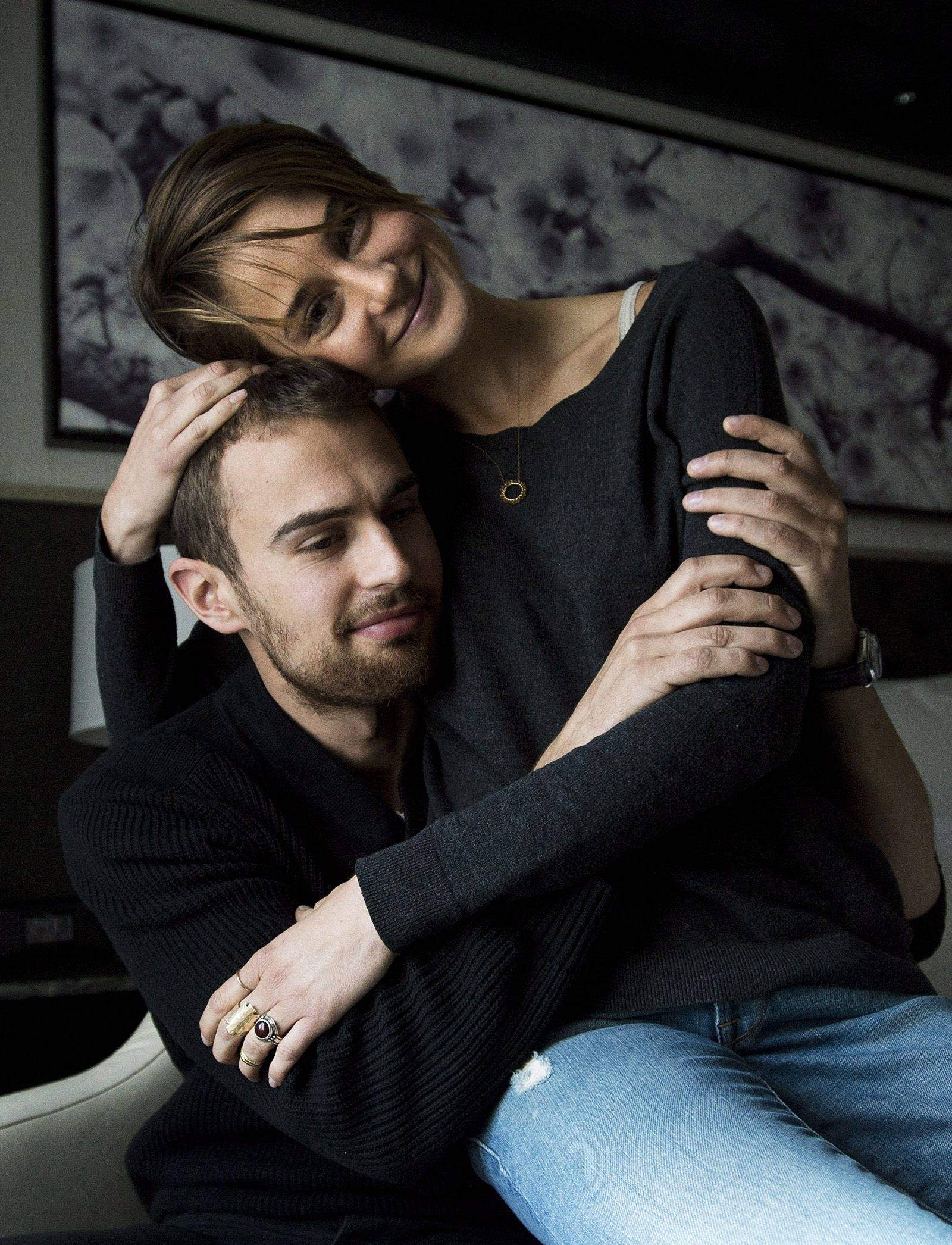 "Actors Theo James, left, and Shailene Woodley promote the movie ""Divergent"" in Toronto. They star in the anticipated first film in the young adult trilogy by author Veronica Roth, a native of Barrington."