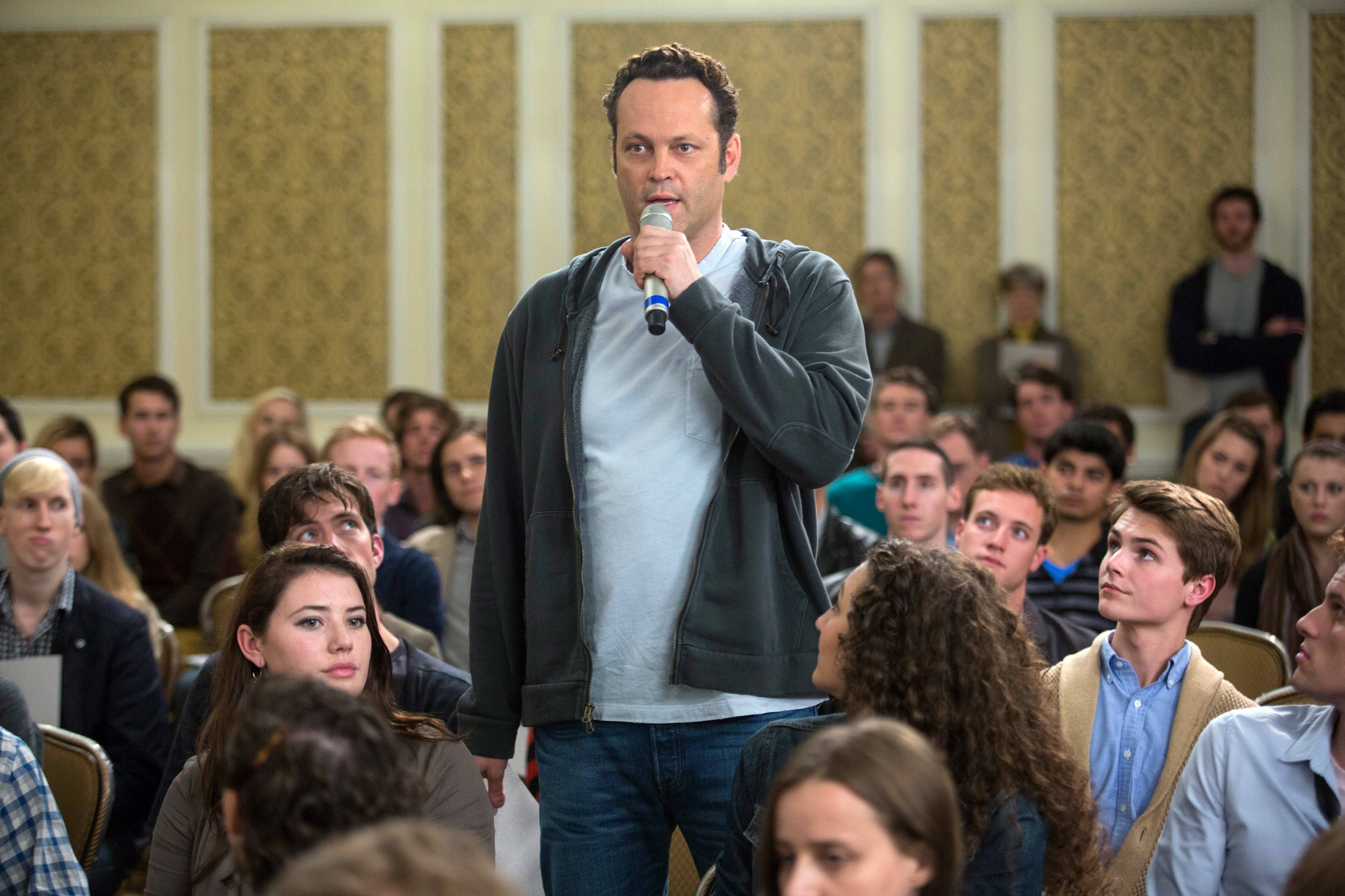 "David Wozniak (Vince Vaughn) addresses many of his 533 children in the comedy ""Delivery Man."""