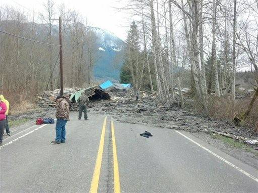 The aftermath of a mudslide Saurday that moved a house with people inside in Snohomish County.