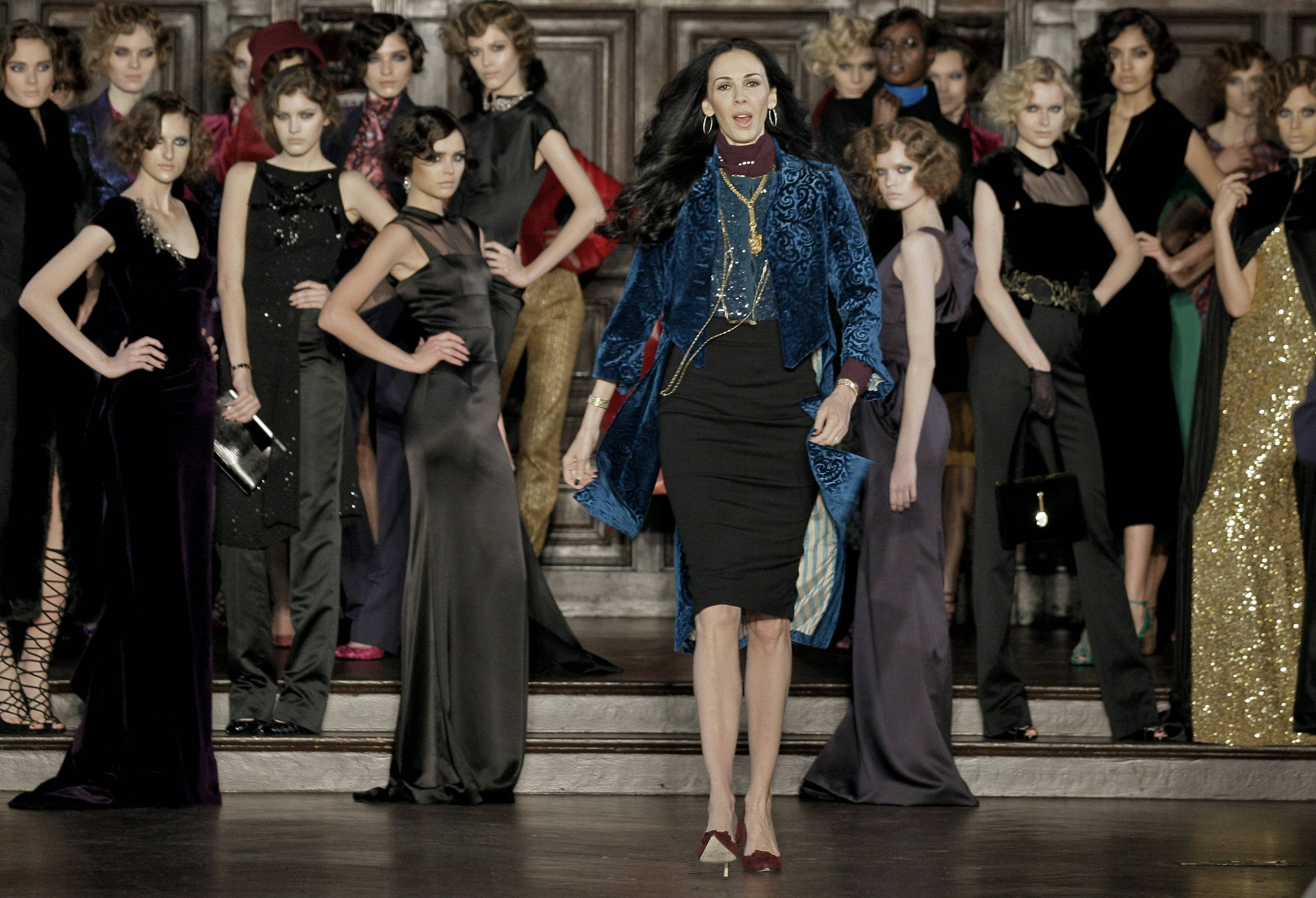 L'Wren Scott, center, after her Fall 2012 collection was modeled during Fashion Week, in New York.