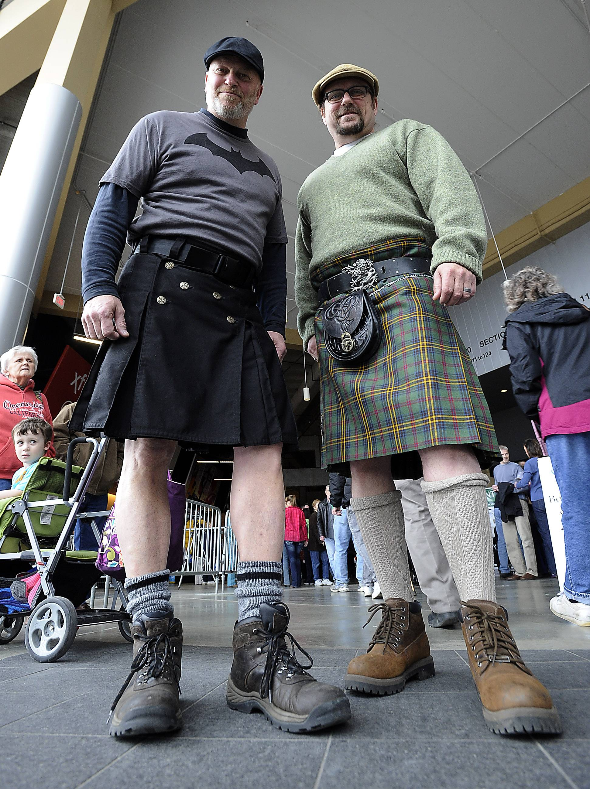 Bo Kaser of Carpentersville and his friend Jeff Kehoe of Elgin, right, don kilts Saturday at the third annual Northwest Celtic Fest at the Sears Centre in Hoffman Estates.