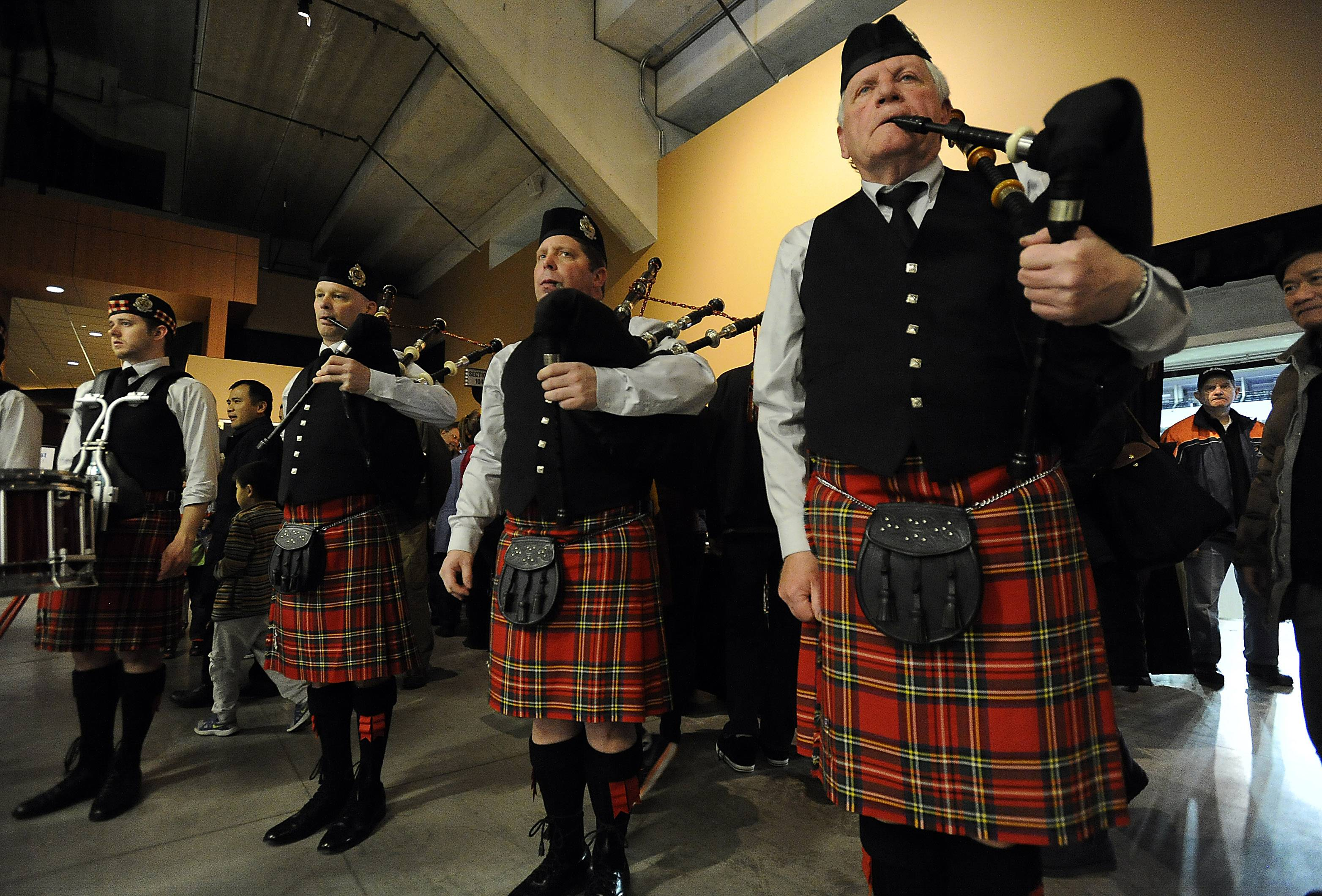 The Chicago Highland Pipes and Drums play at the third annual Northwest Celtic Fest on Saturday at the Sears Centre.