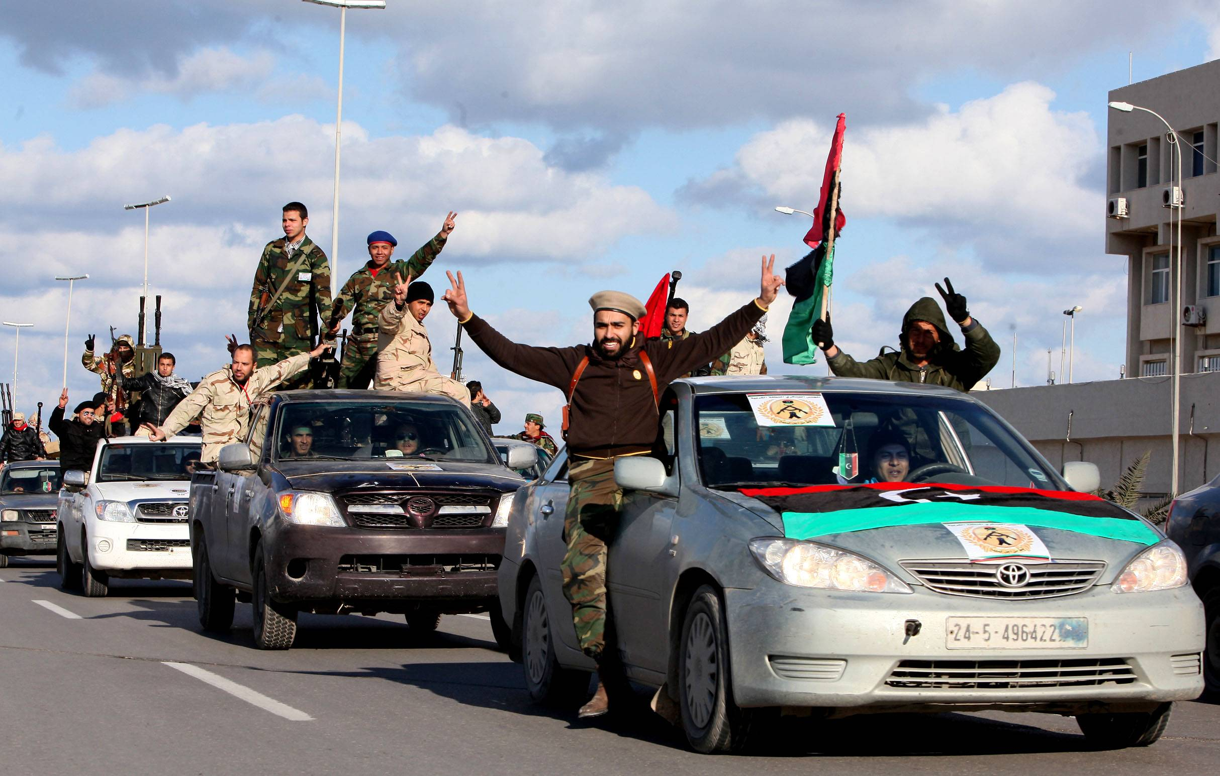 Libyan militias from towns throughout the country's west parade through Tripoli, Libya.