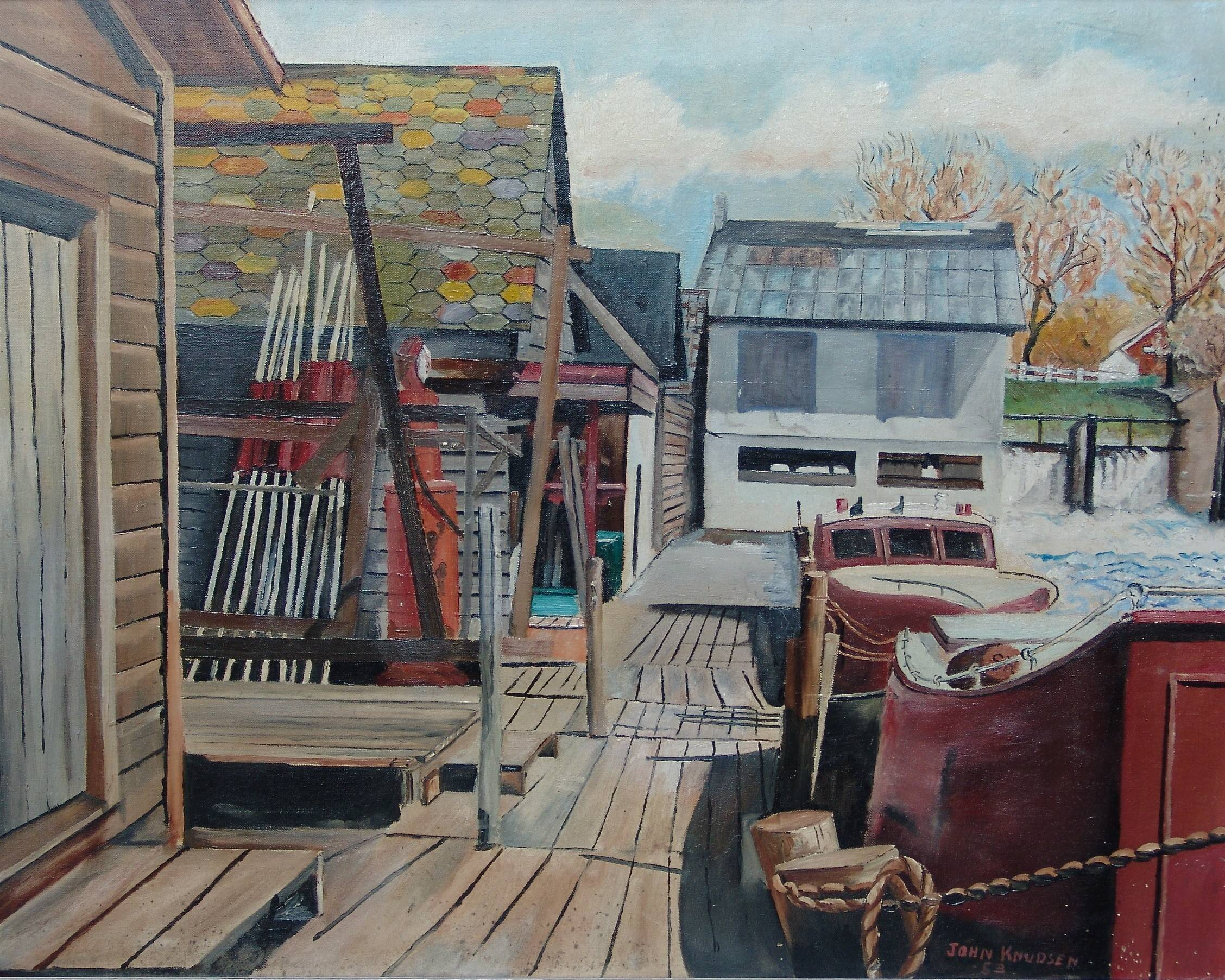 "John Knudsen was 15 when he did this oil painting of a dock in Leeland, Mich., where his family vacationed. His son, Mike, says you can see how his father began to play with color in the shingles of the left structure, ""probably the beginning of his desire to focus on color rather than realism."""