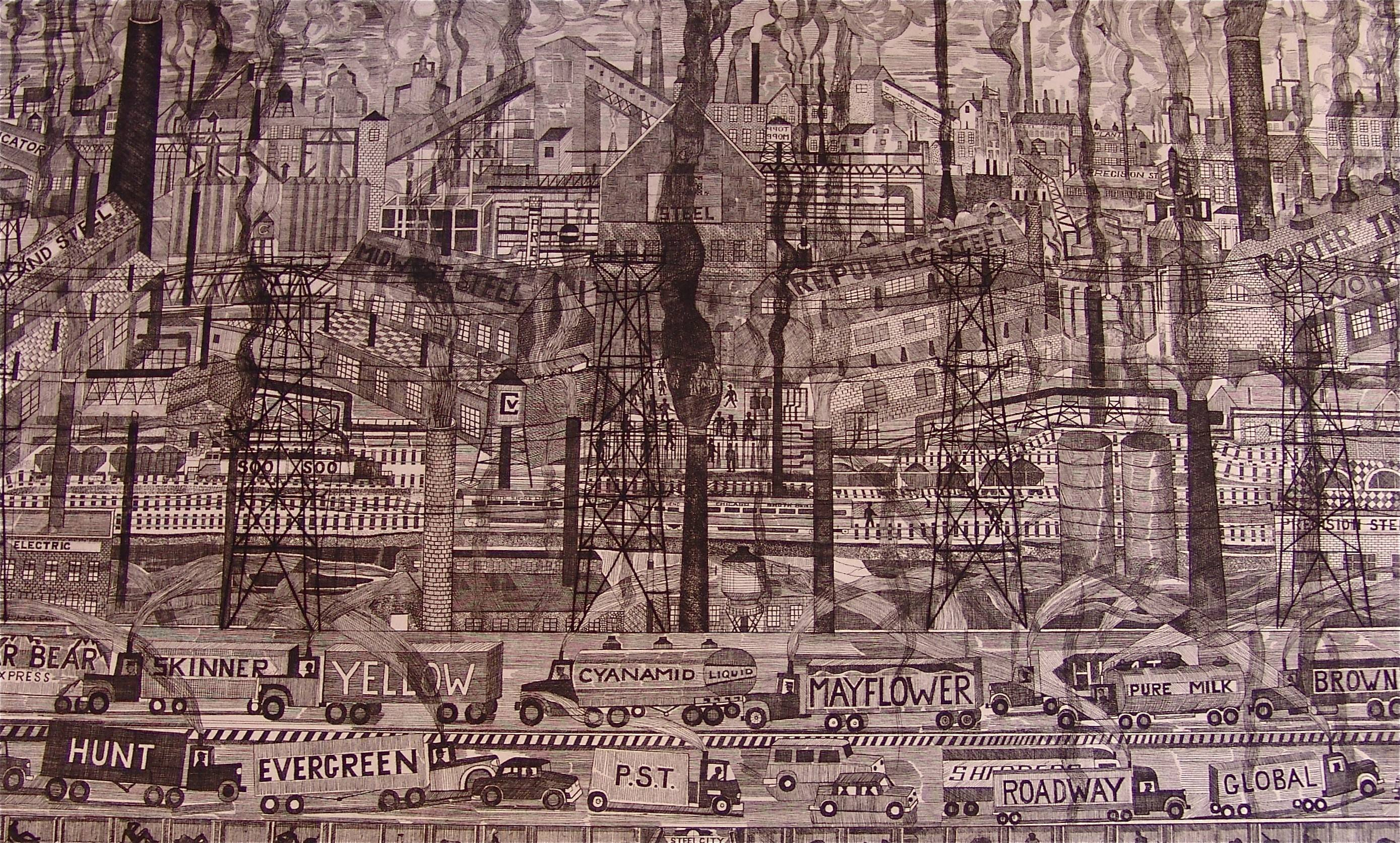 This is Steel City, one of John Knudsen's etchings completed in 1980.