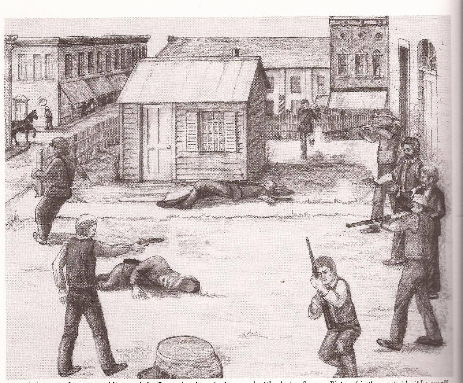 A drawing captures the bloody 1864 clash in eastern Illinois that became known as the Charleston Riot.