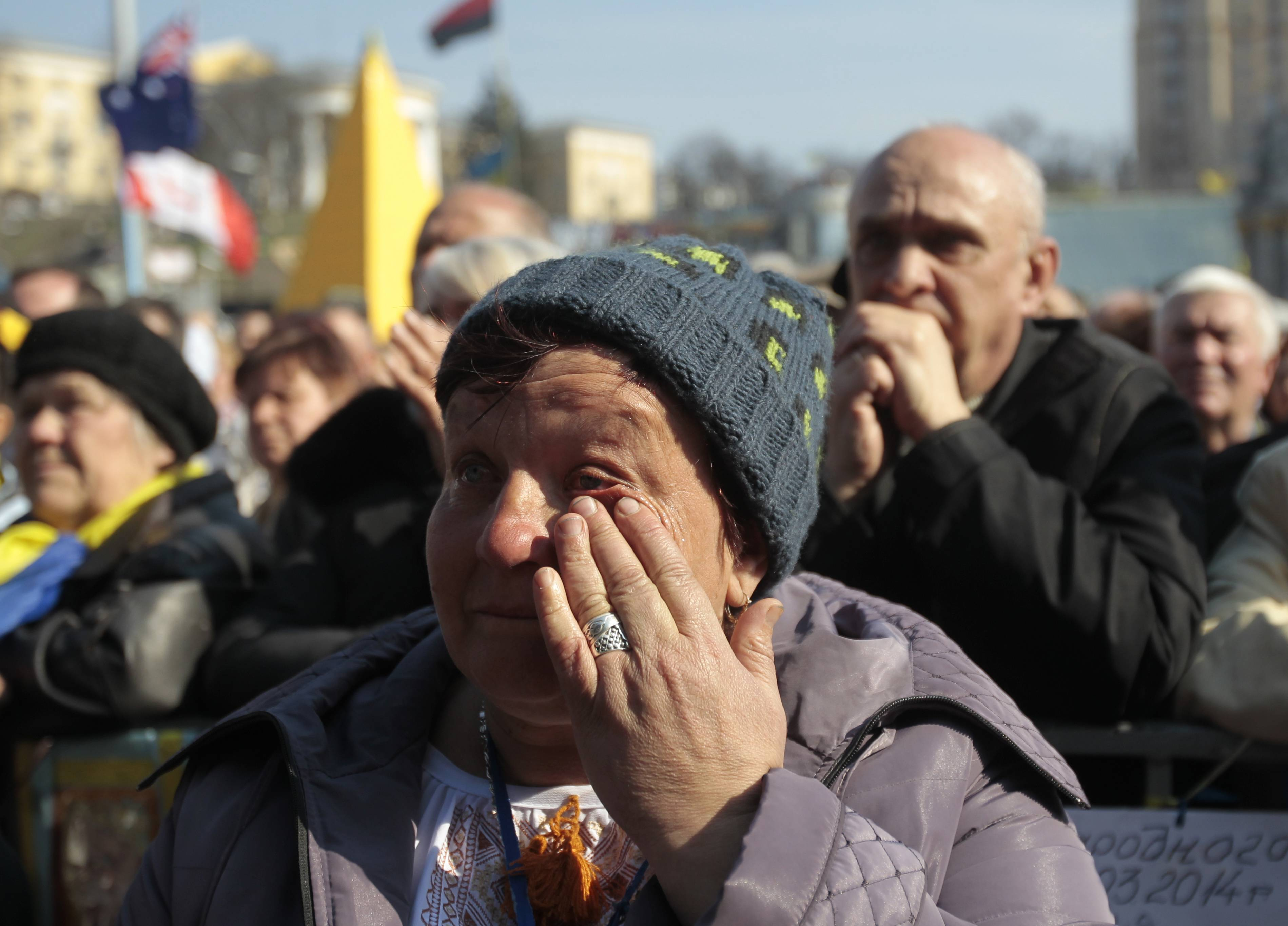 People rally in support of Ukraine's territorial integrity, in Kiev's Independence Square, Ukraine, Sunday. Thousands of demonstrators gathered for a weekly rally in support of a united Ukraine and against the aggression of the Russian Federation.