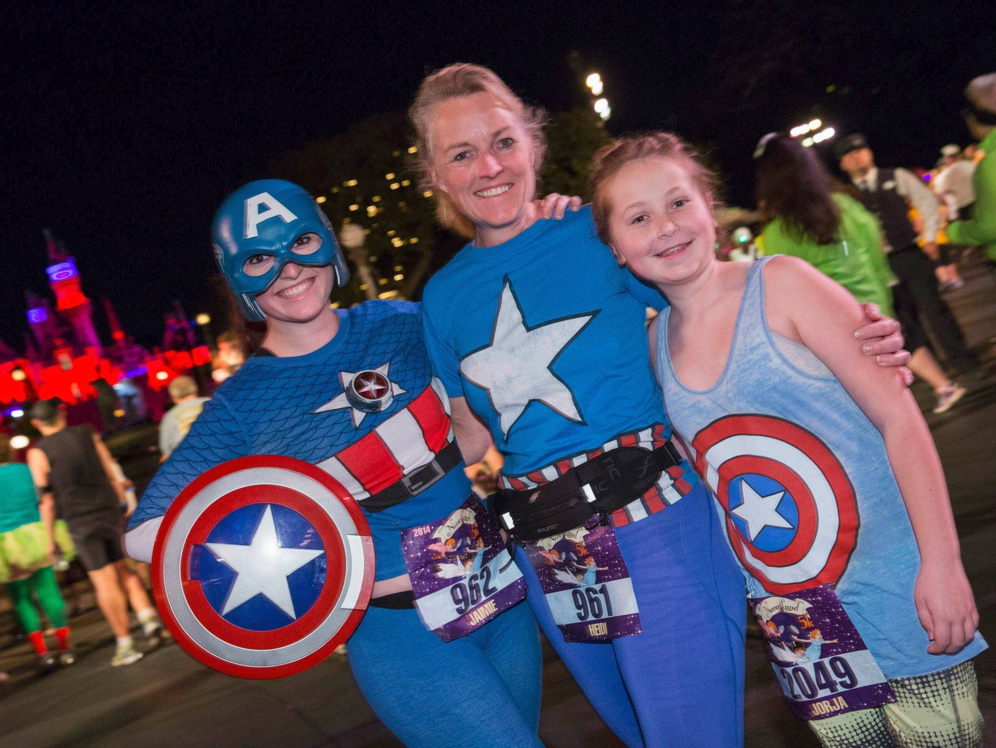 These Captain America-themed runners from the Disneyland Never Land Family Fun 5K on Jan. 17 might want to recycle their outfits for the new Disneyland Avengers Super Heroes Half Marathon debuting Sunday, Nov. 16, in Anaheim, Calif.