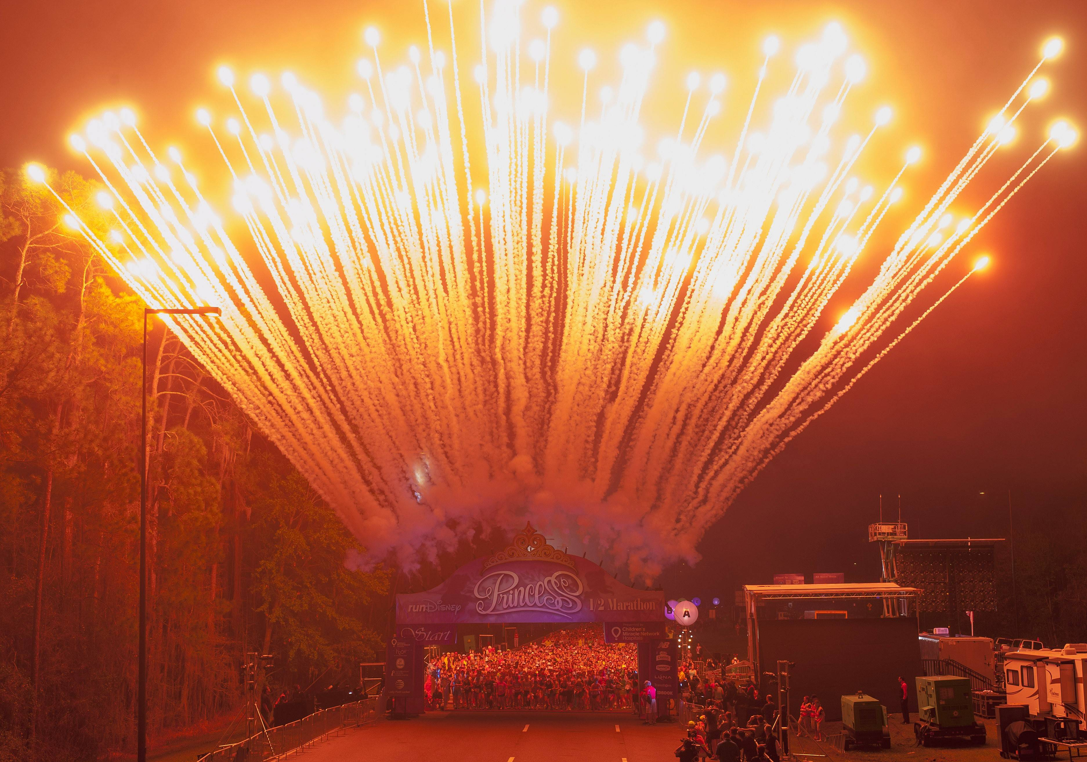 Fireworks signal the start of the 2014 Disney Princess Half Marathon last month at Florida's Walt Disney World Resort.