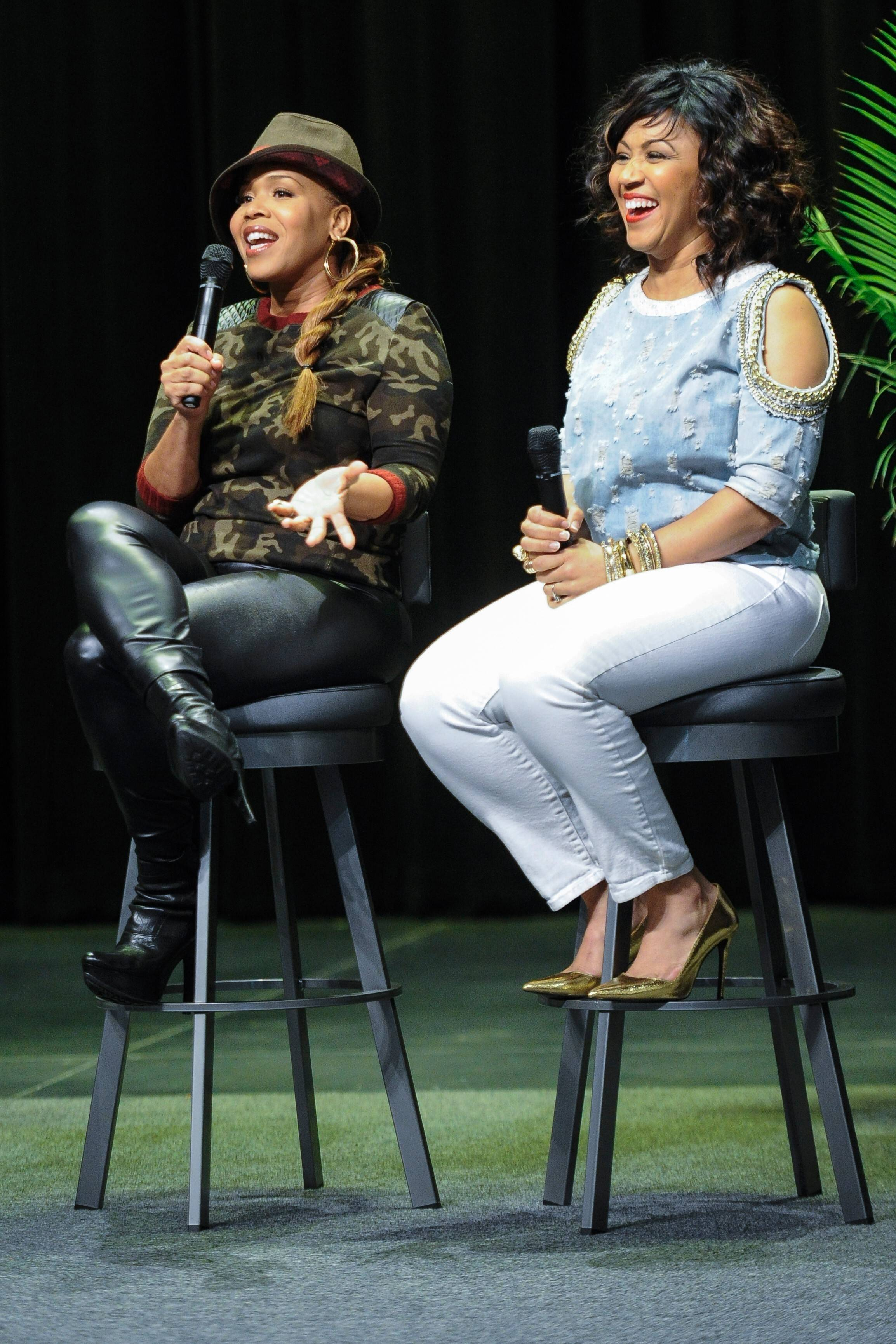 "Sisters Erica Campbell, right, and Tina Campbell took questions from the audience during a screening of their reality show ""Mary Mary"" last month. Though Erica is branching off with a solo career, she insists the duo Mary Mary has not broken up."