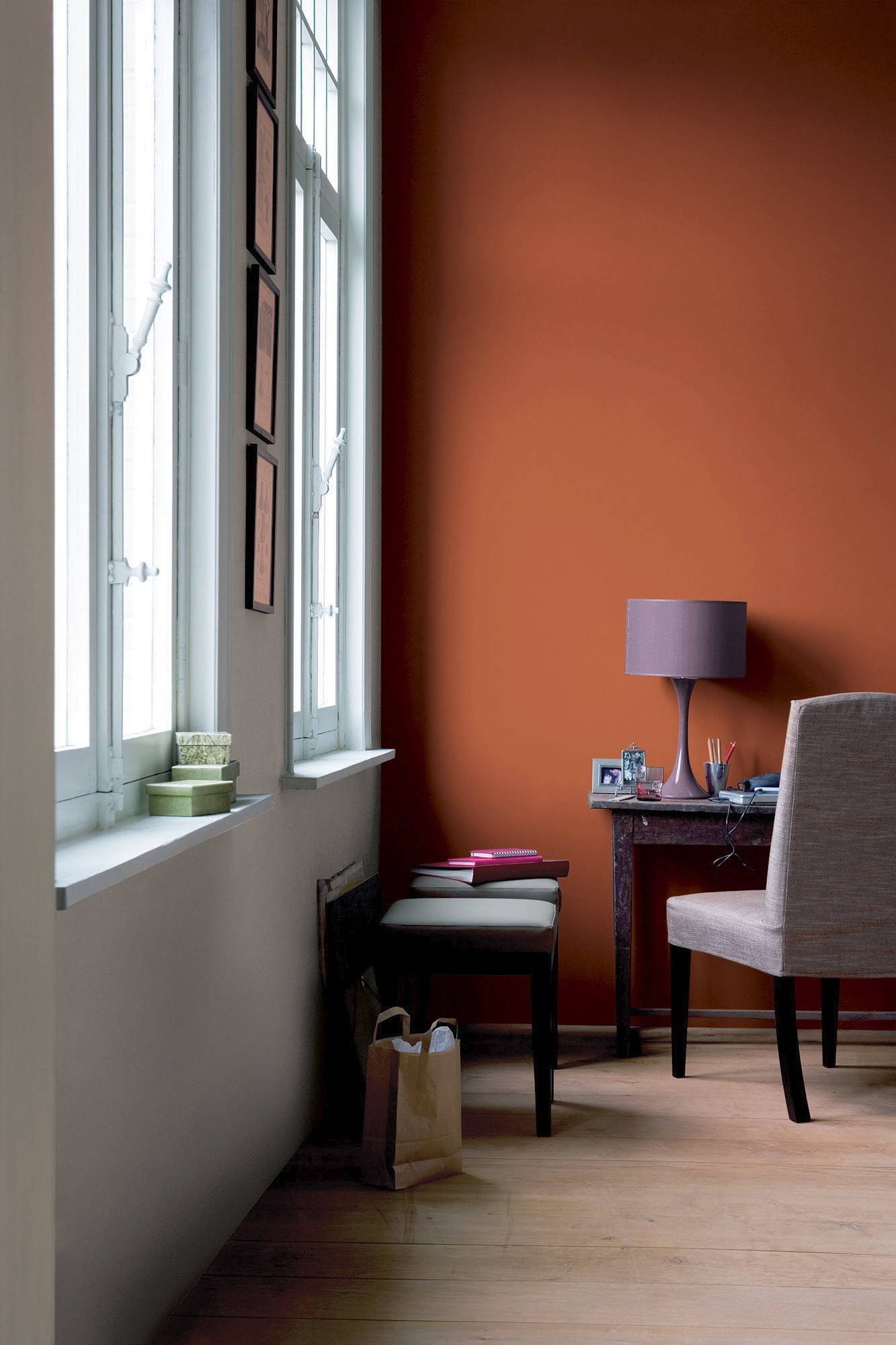 Glidden's Crisp Autumn Leaves gives a moody, rich look to this room.
