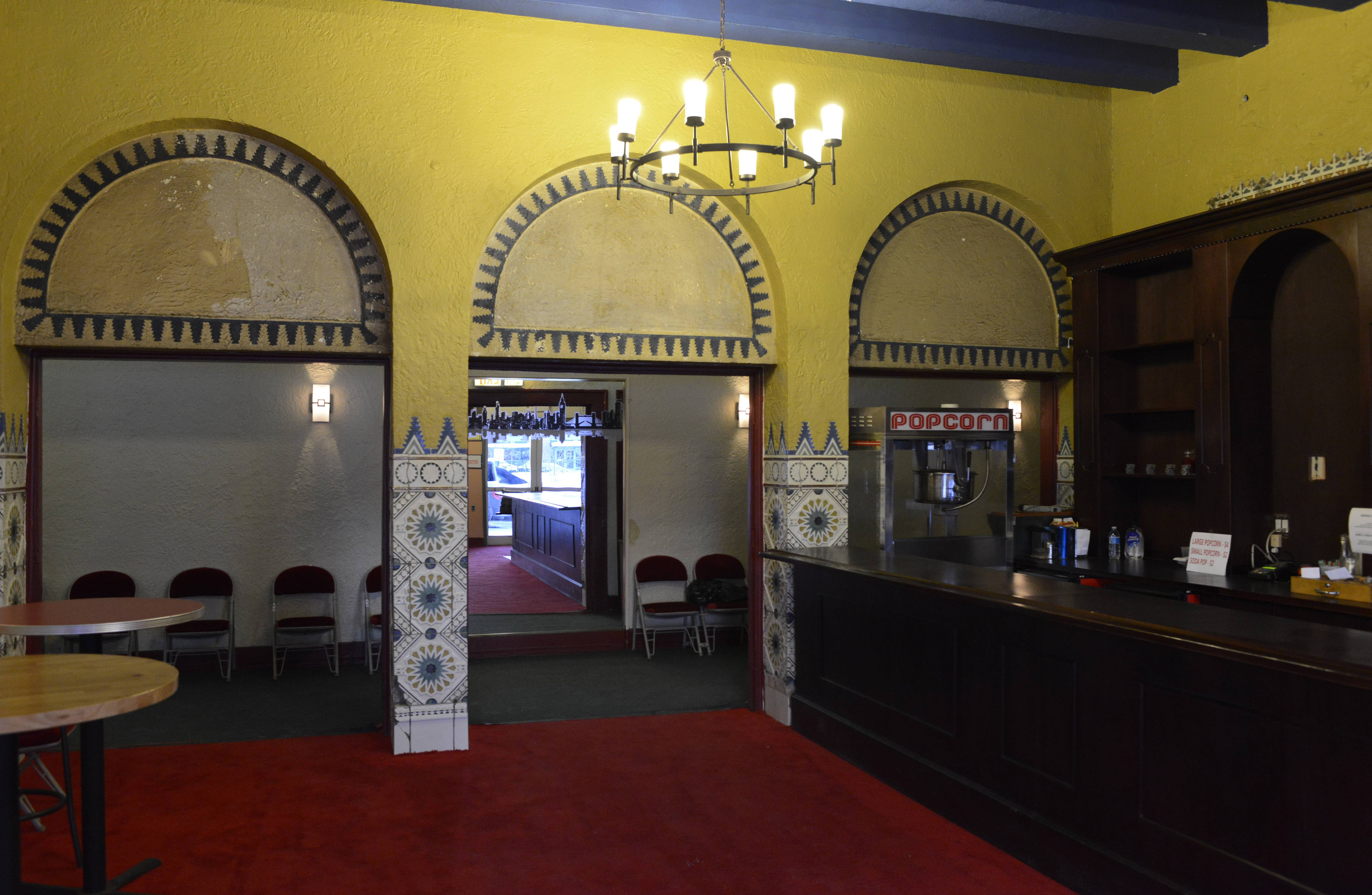This is the lobby of the shuttered Des Plaines Theatre.